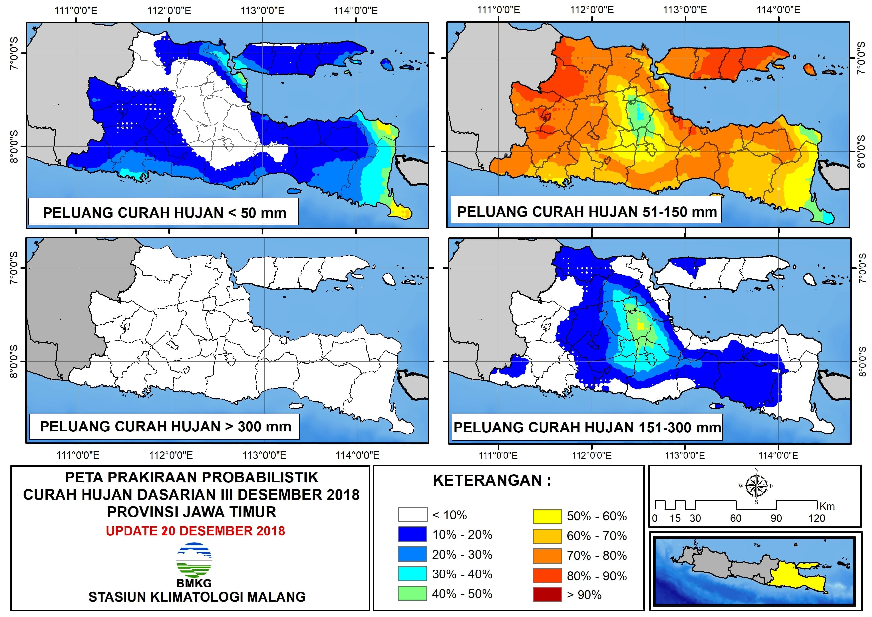 Peta Prakiraan Probabilistik Curah Hujan Dasarian Desember Provinsi Jawa Timur Update 20 Desember 2018