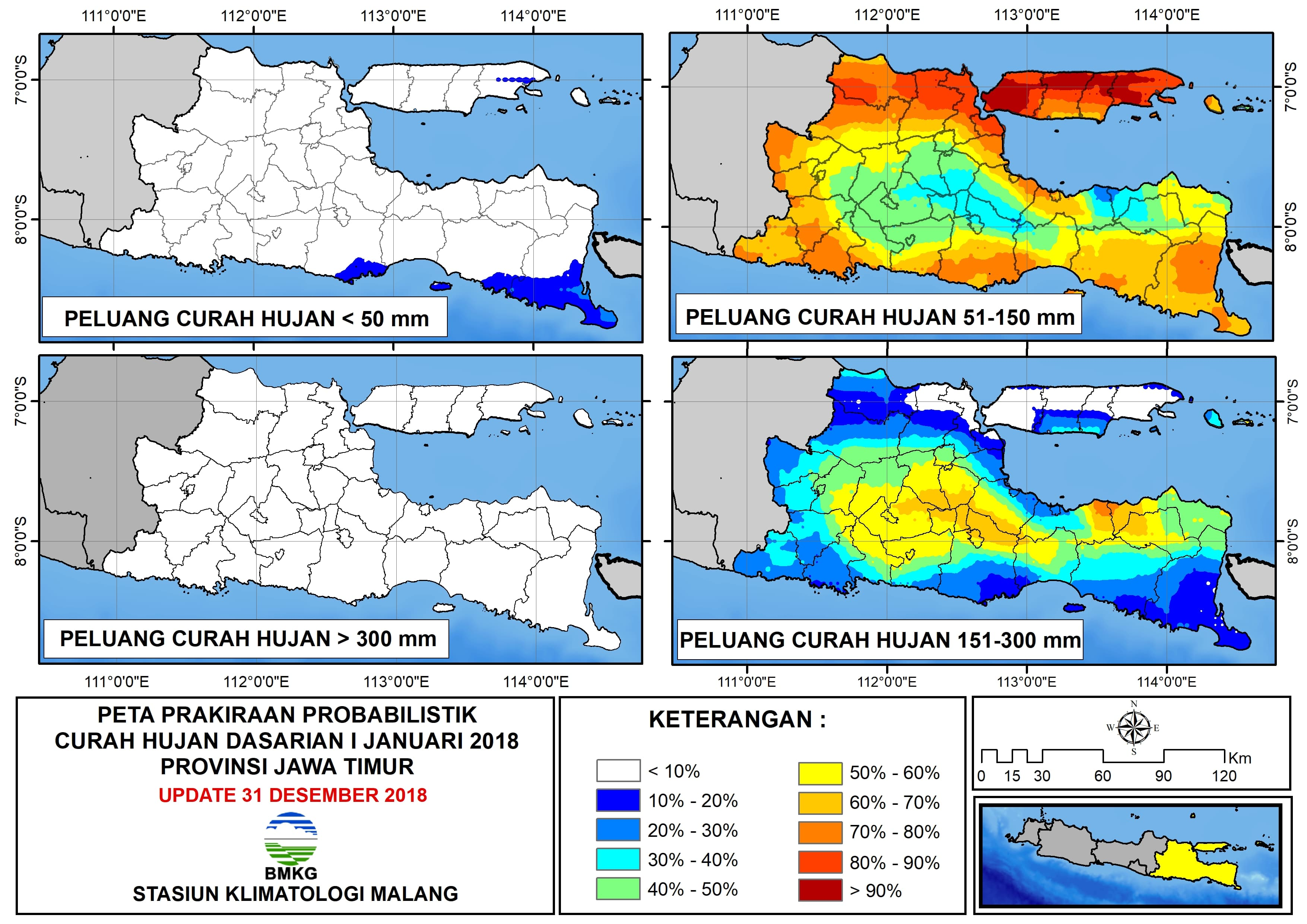 Peta Prakiraan Probabilistik Curah Hujan Dasarian I Januari Provinsi Jawa Timur Update 31 Desember 2018