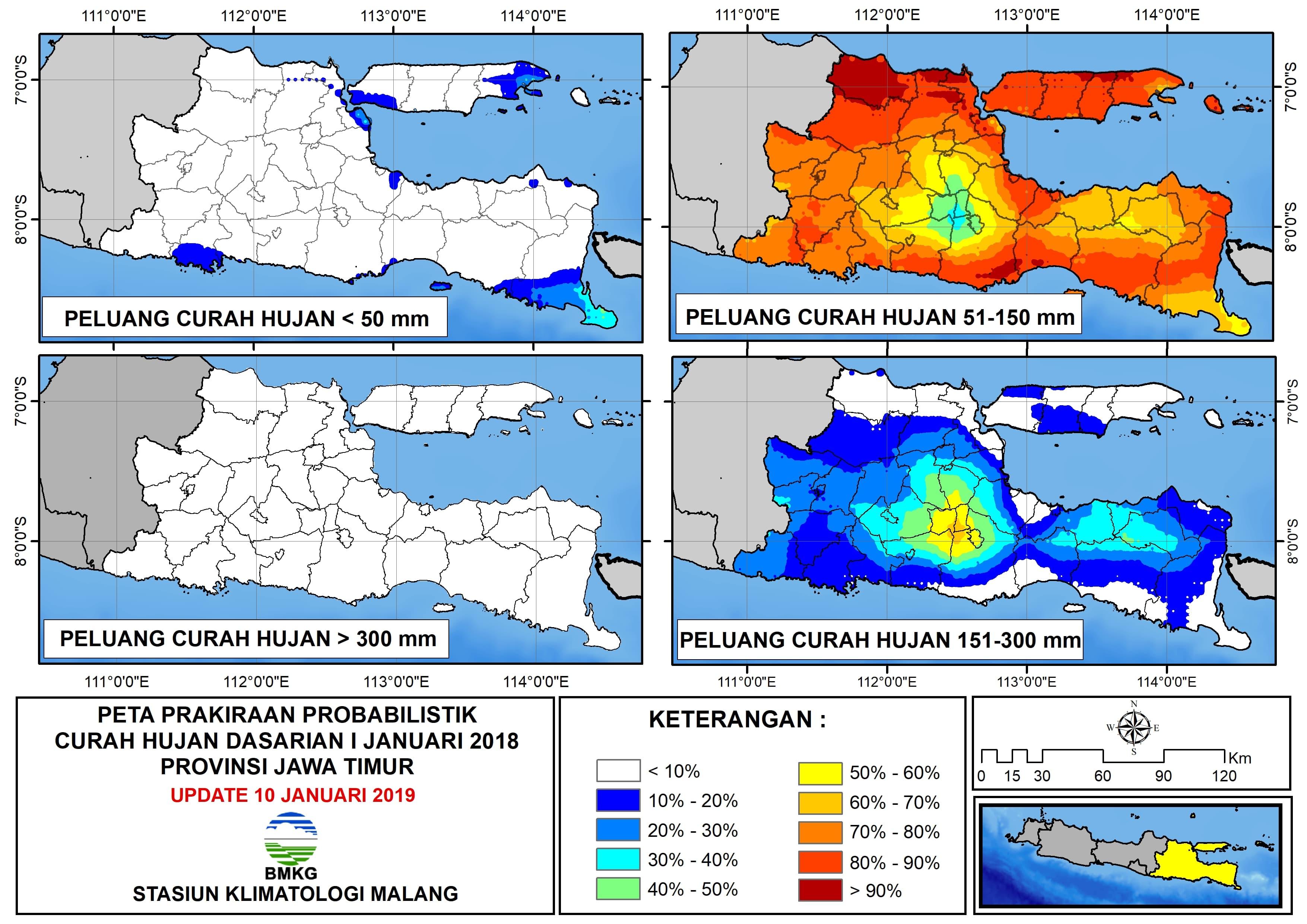 Peta Prakiraan Probabilistik Curah Hujan Dasarian Provinsi Jawa Timur Update 10 Januari 2019