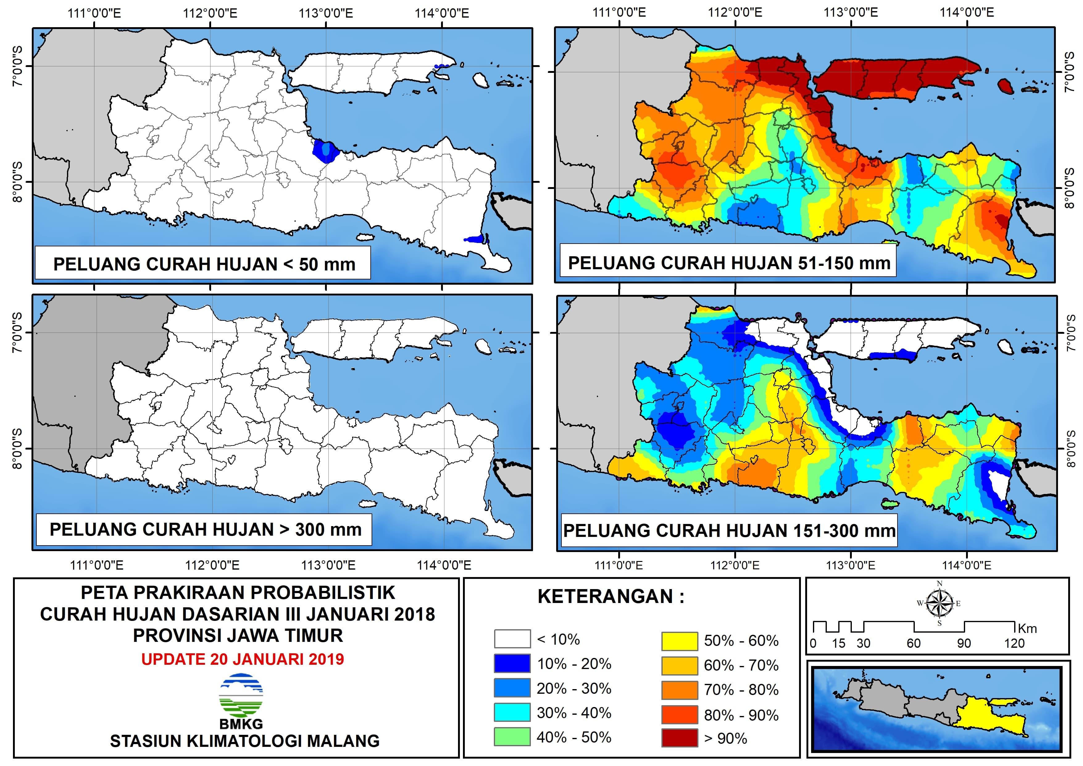 Peta Prakiraan Probabilistik Curah Hujan Dasarian Provinsi Jawa Timur Update 20 Januari 2019