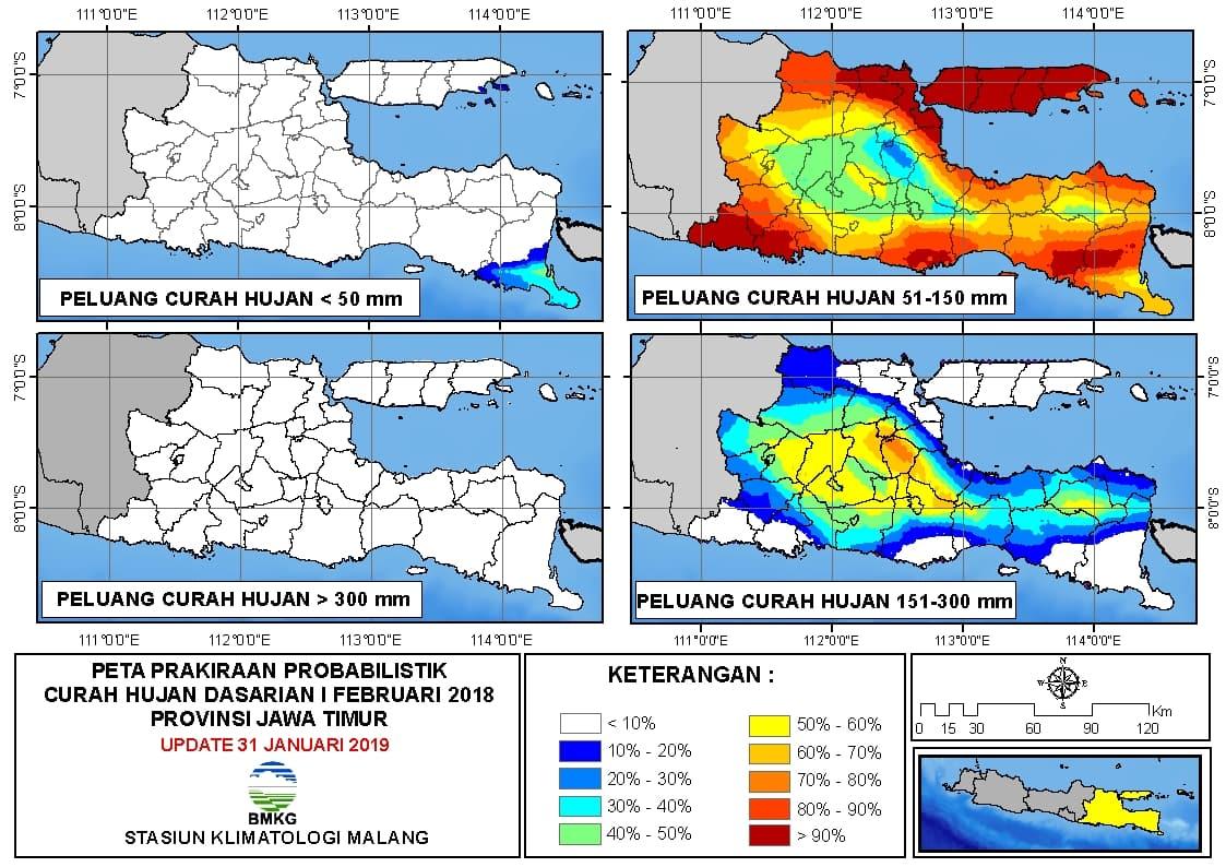Peta Prakiraan Probabilistik Curah Hujan Dasarian Provinsi Jawa Timur Update 31 Januari 2019