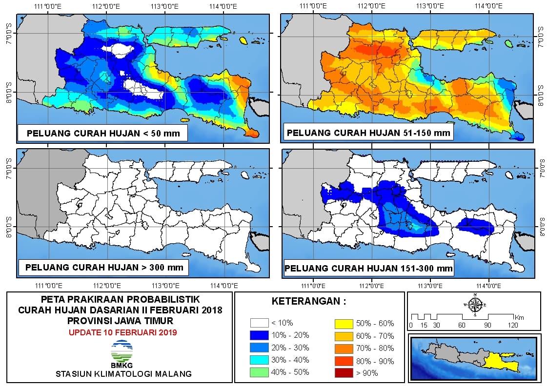 Peta Prakiraan Probabilistik Curah Hujan Dasarian Provinsi Jawa Timur Update 10 Februari 2019