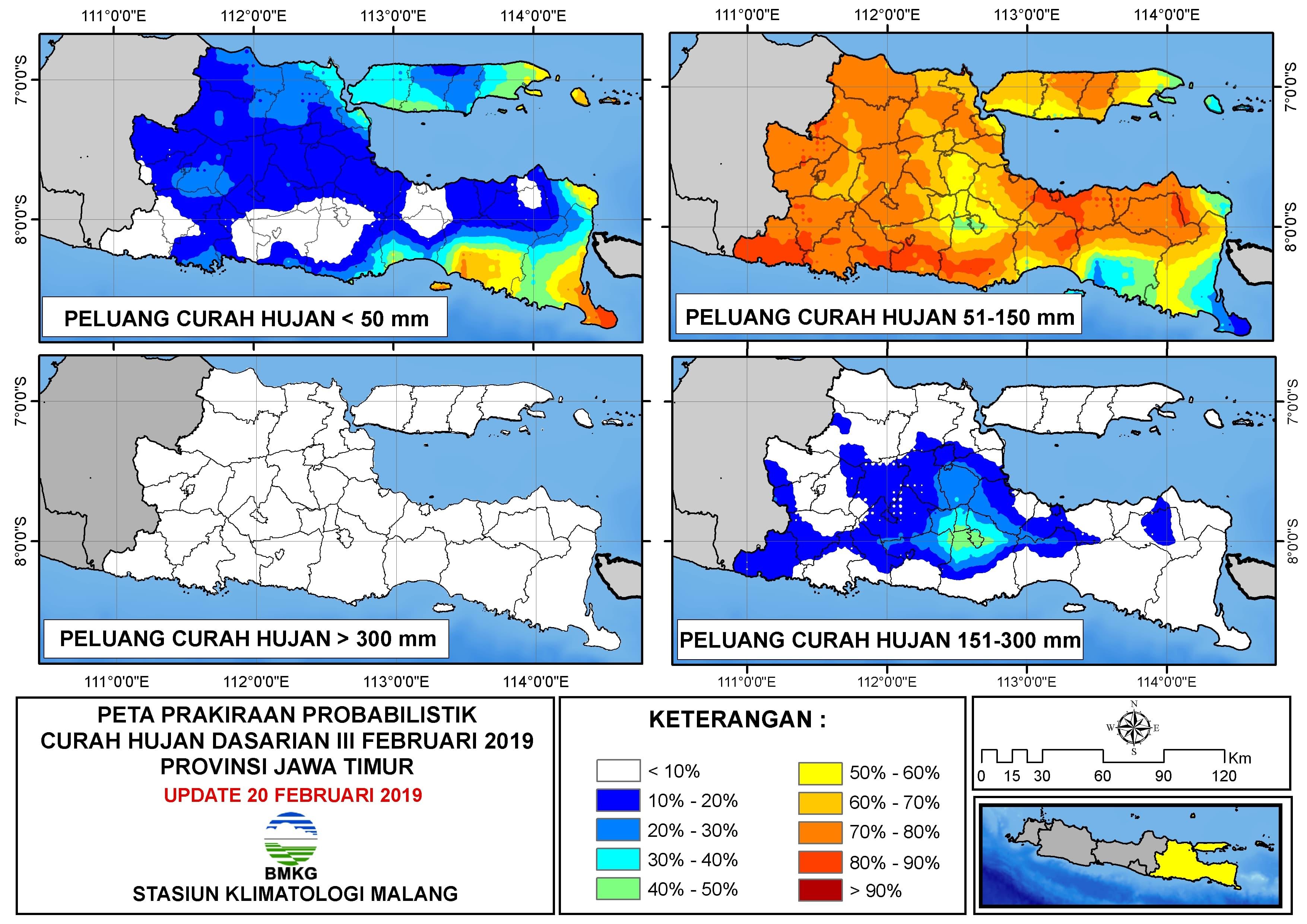 Peta Prakiraan Probabilistik Curah Hujan Dasarian Provinsi Jawa Timur Update 20 Februari 2019