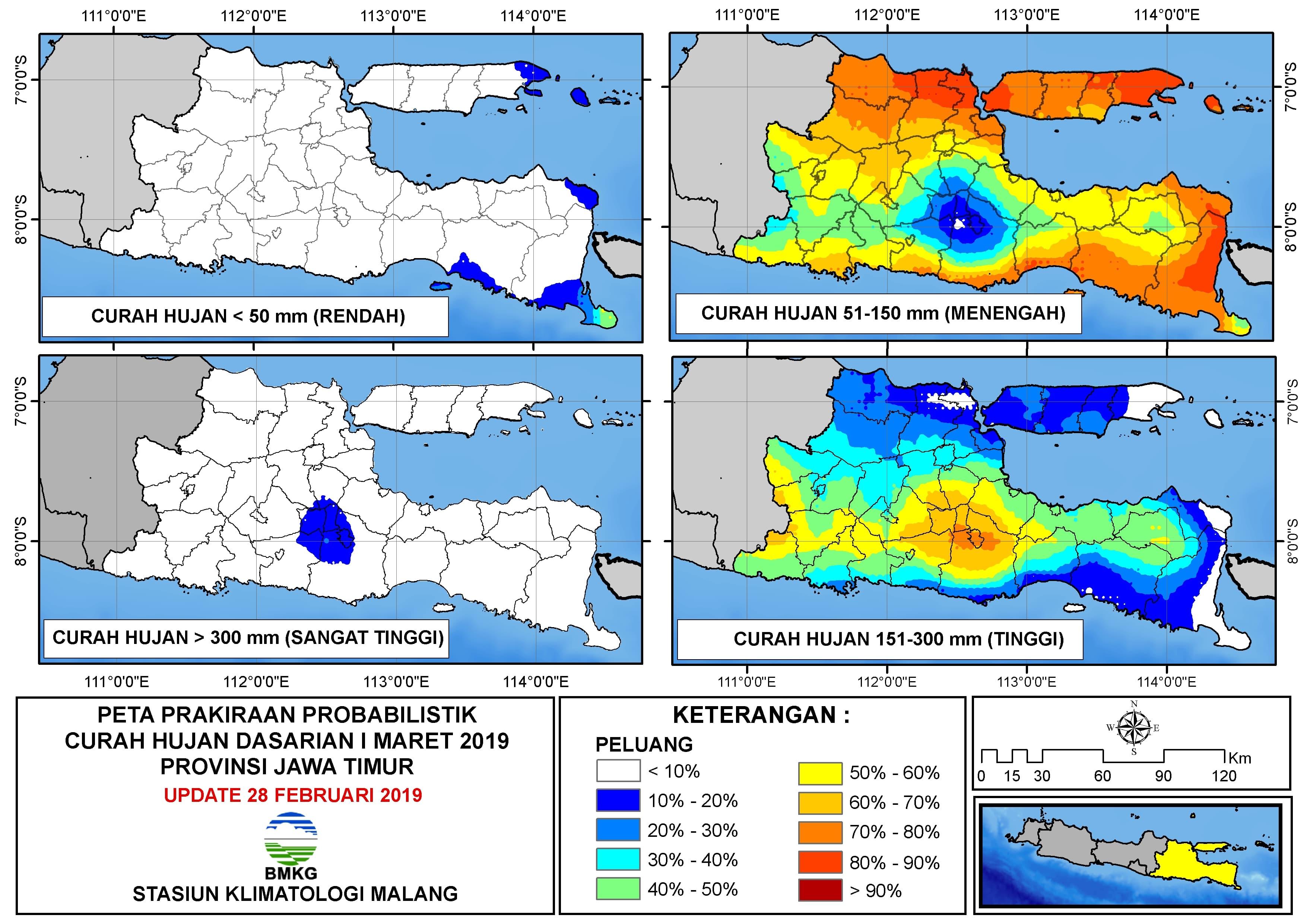 Peta Prakiraan Probabilistik Curah Hujan Dasarian Provinsi Jawa Timur Update 28 Februari 2019