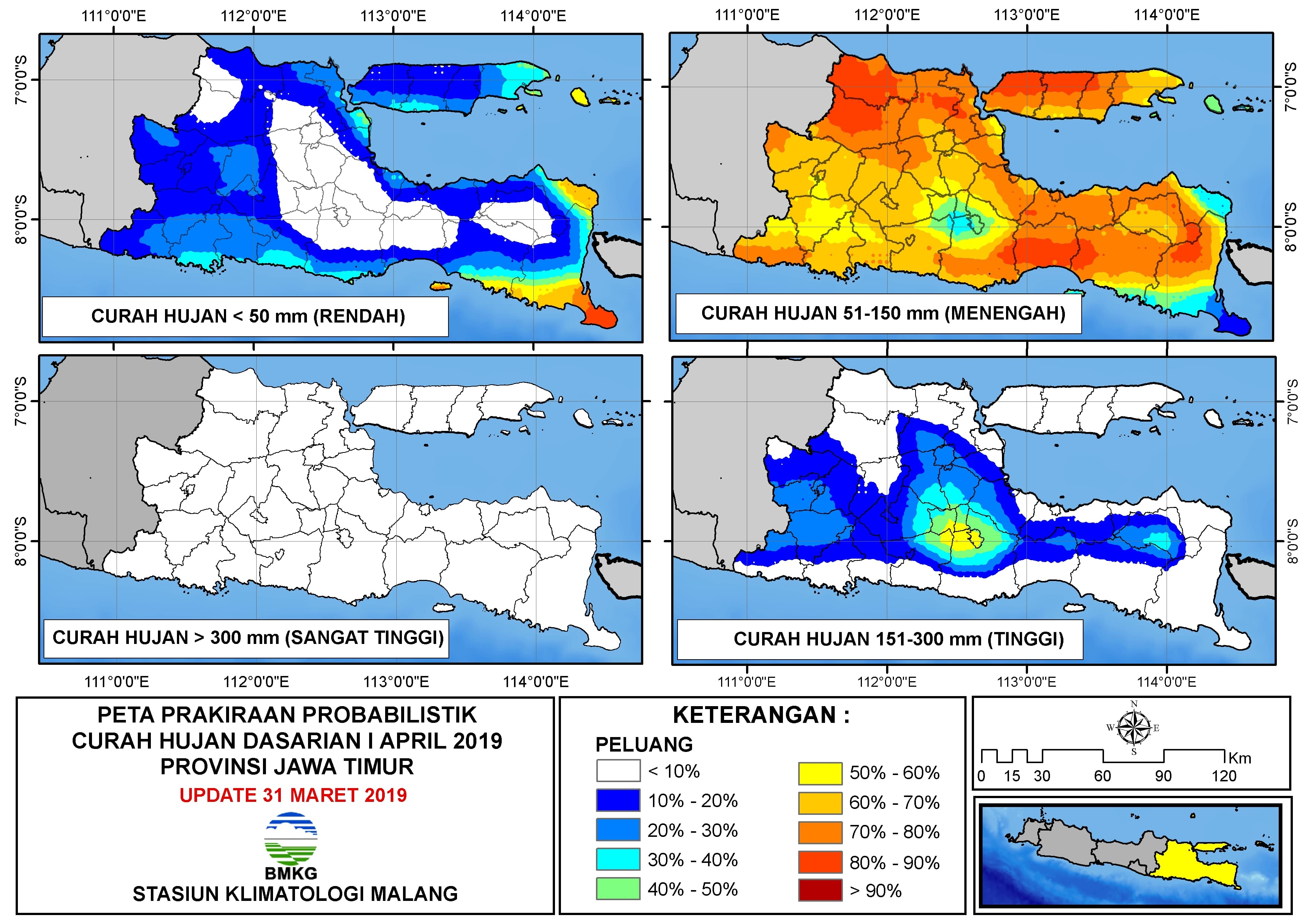 Peta Prakiraan Probabilistik Curah Hujan Dasarian I III April I Mei Tahun 2019 Provinsi Jawa Timur Update 31 Maret 2019