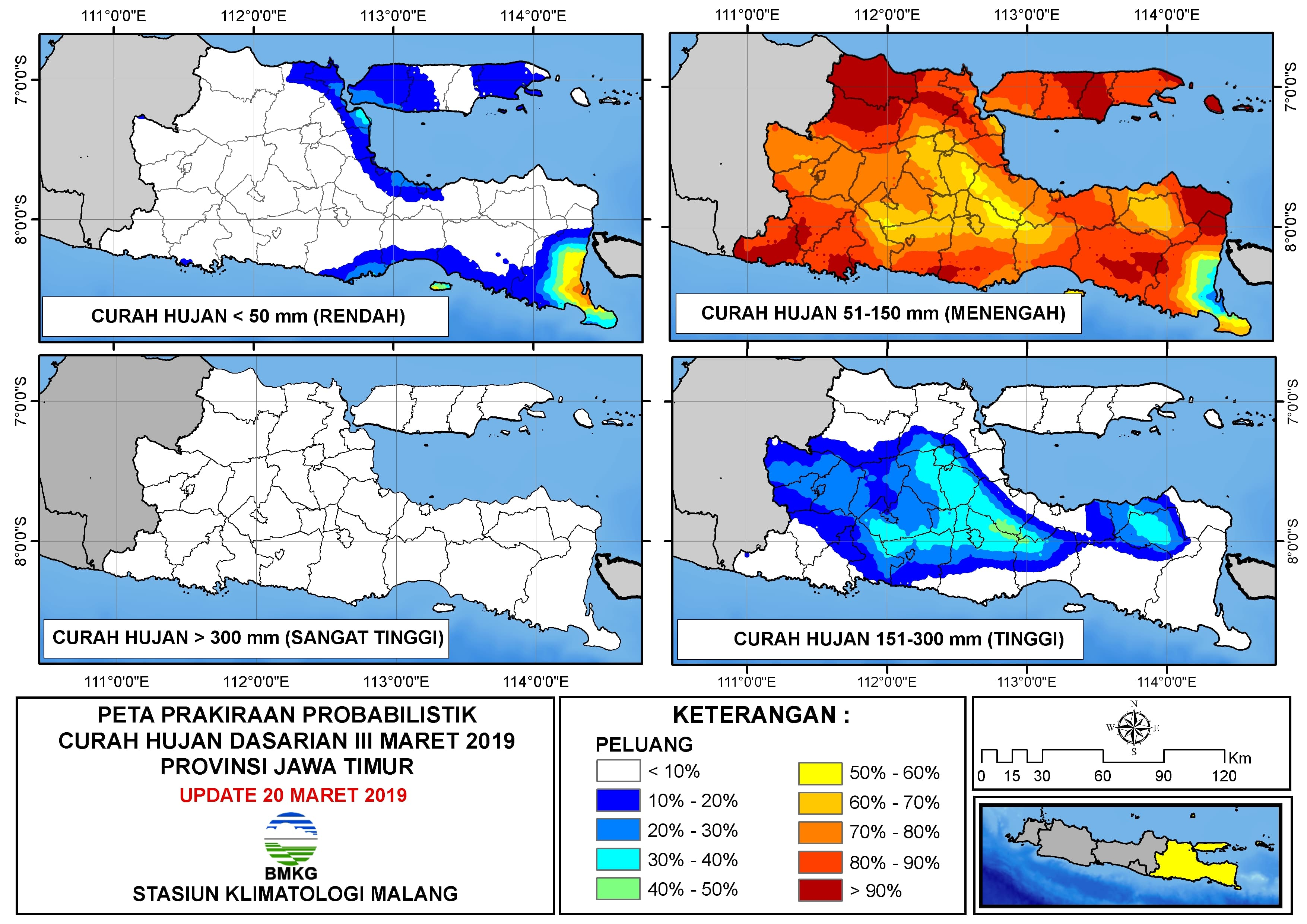 Peta Prakiraan Probabilistik Curah Hujan Dasarian III Provinsi Jawa Timur Update 20 Maret 2019