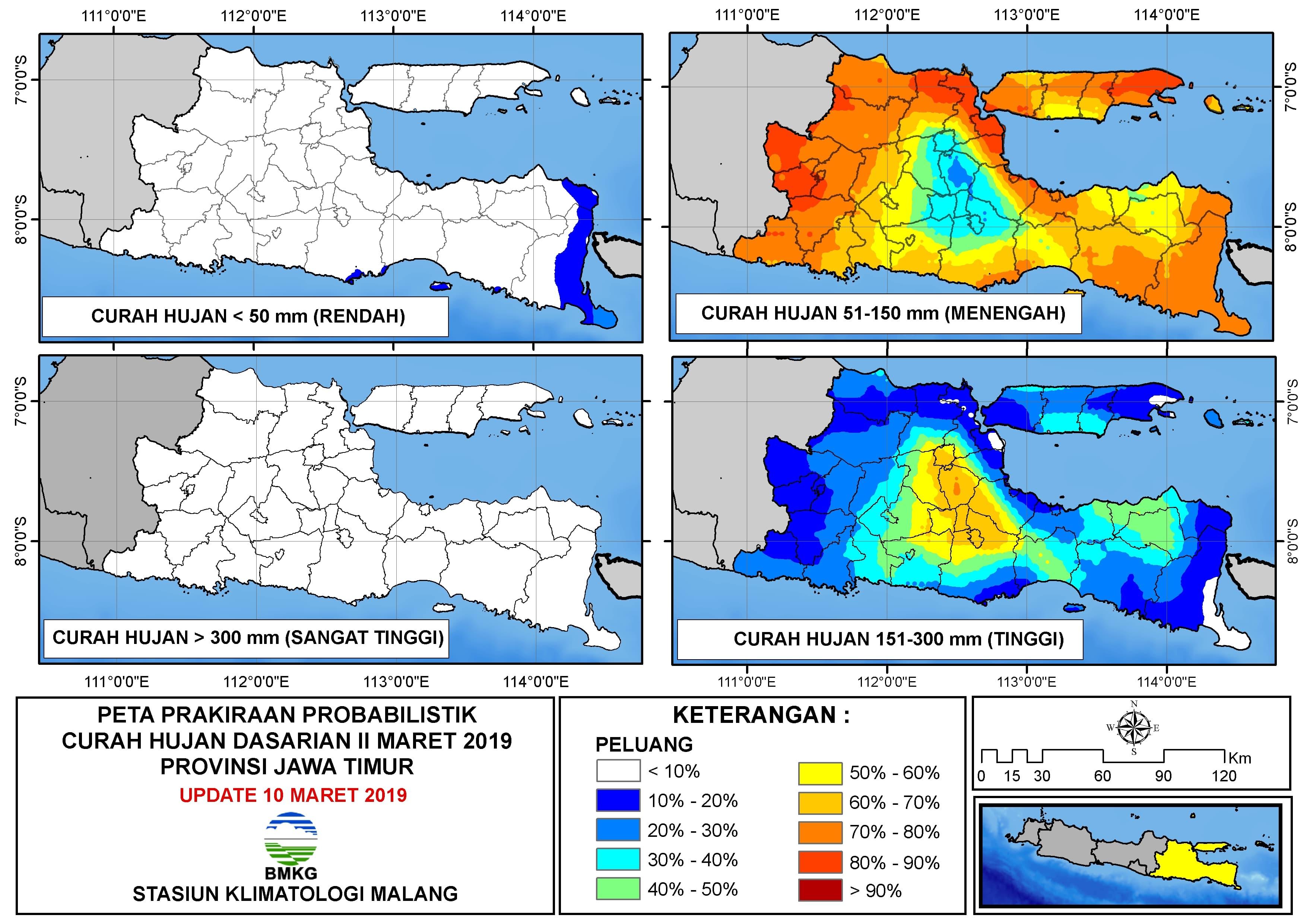 Peta Prakiraan Probabilistik Curah Hujan Dasarian II Provinsi Jawa Timur Update 10 Maret 2019