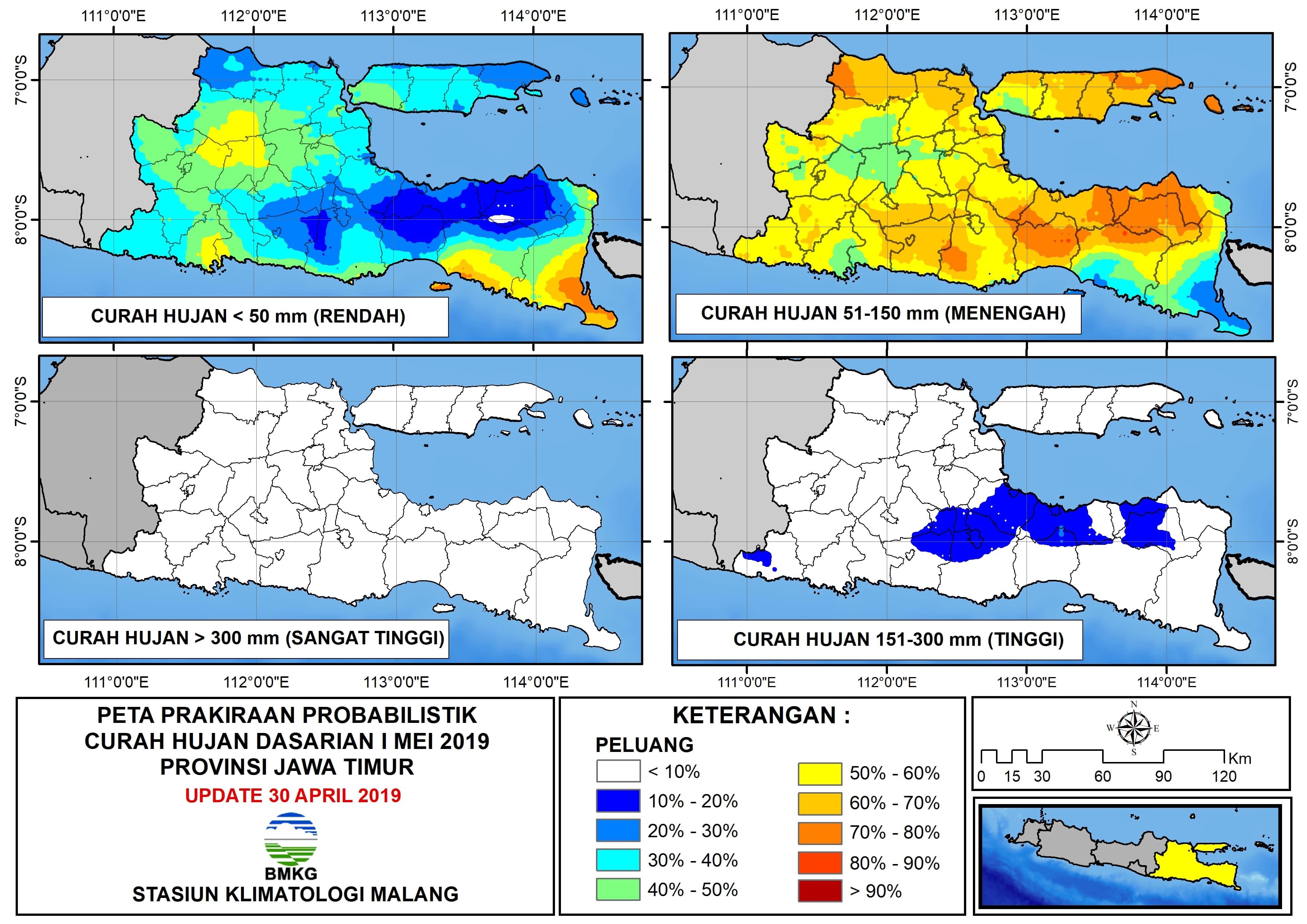 Peta Analisis Distribusi Sifat Hujan Dasarian II April 2019 di Provinsi Jawa Timur