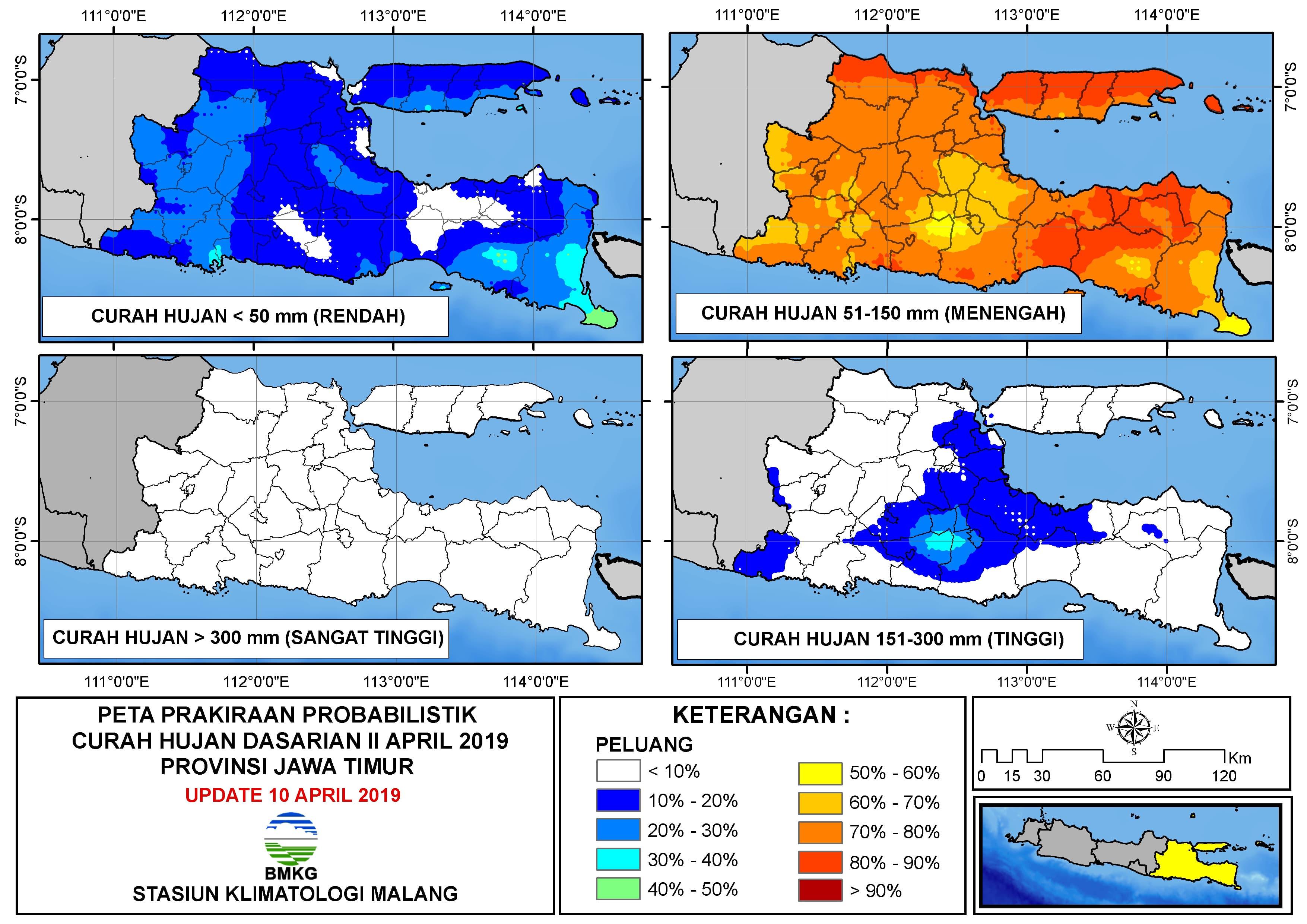 Peta Prakiraan Probabilistik Curah Hujan Dasarian II April 2019 Provinsi Jawa Timur Update 10 April 2019