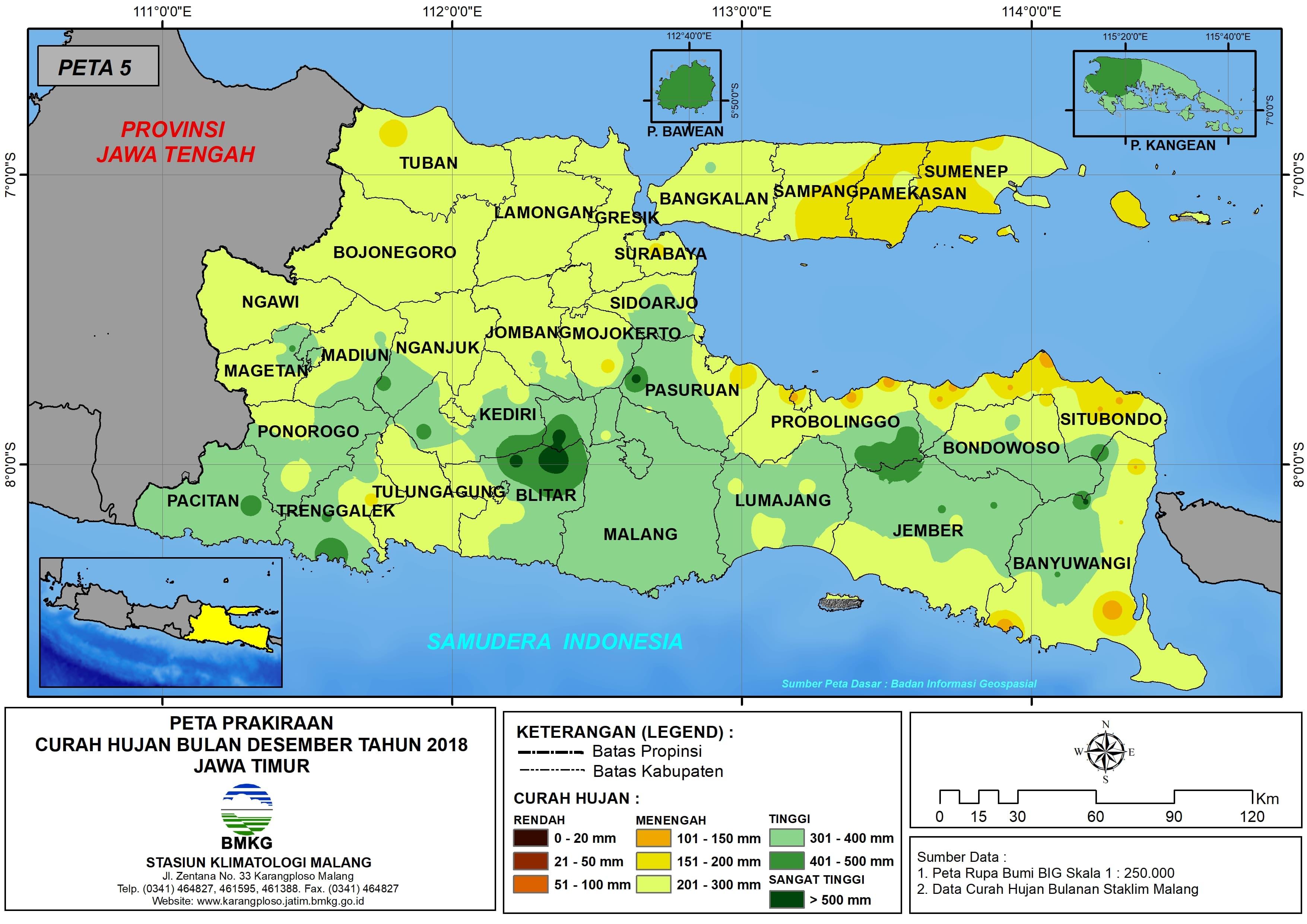 Prakiraan Curah Hujan Bulan Desember Tahun 2018 di Provinsi Jawa Timur Update dari Analisis Bulan Oktober 2018