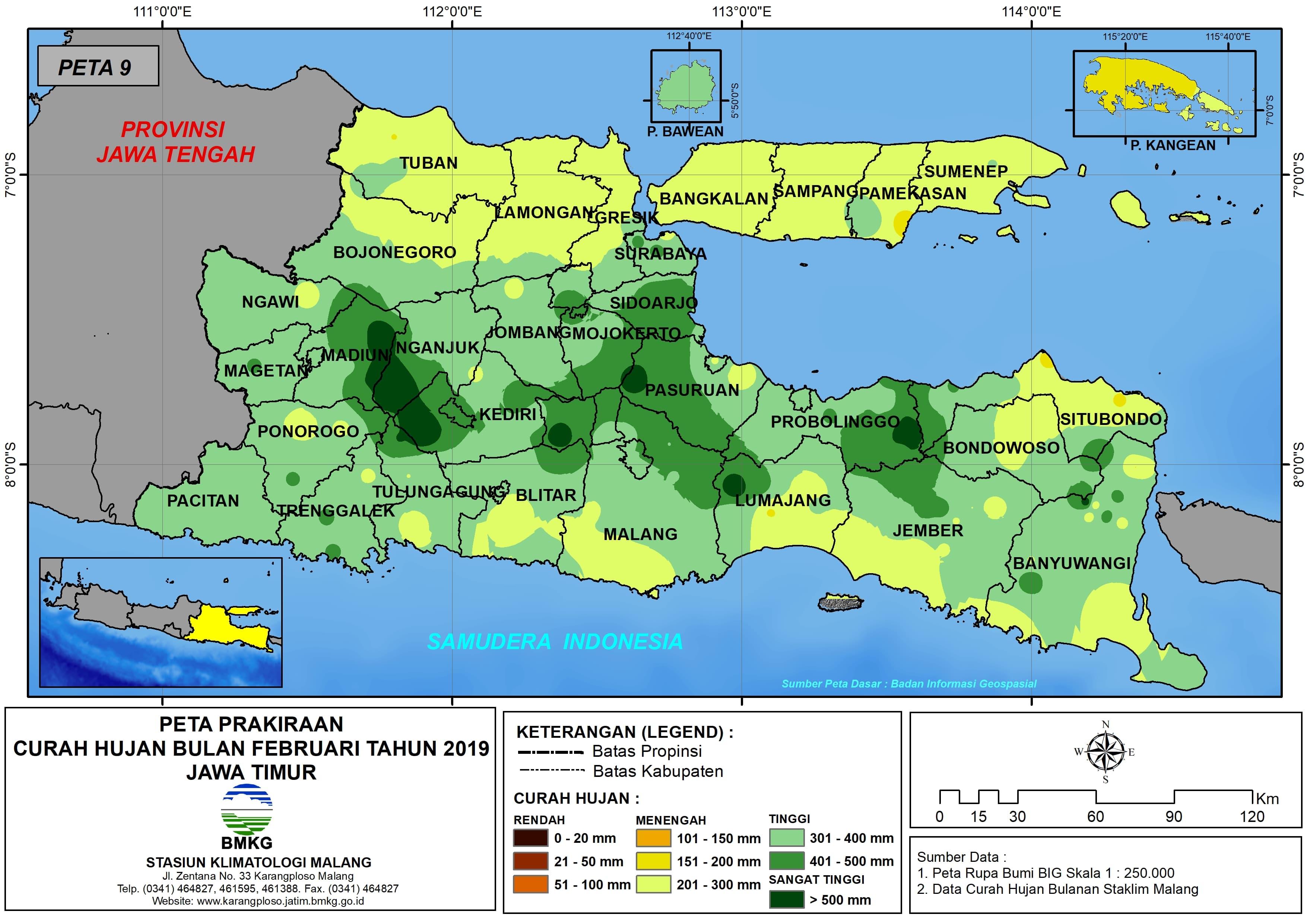 Prakiraan Curah Hujan Bulan Februari Tahun 2019 di Provinsi Jawa Timur Update dari Analisis Bulan Oktober 2018