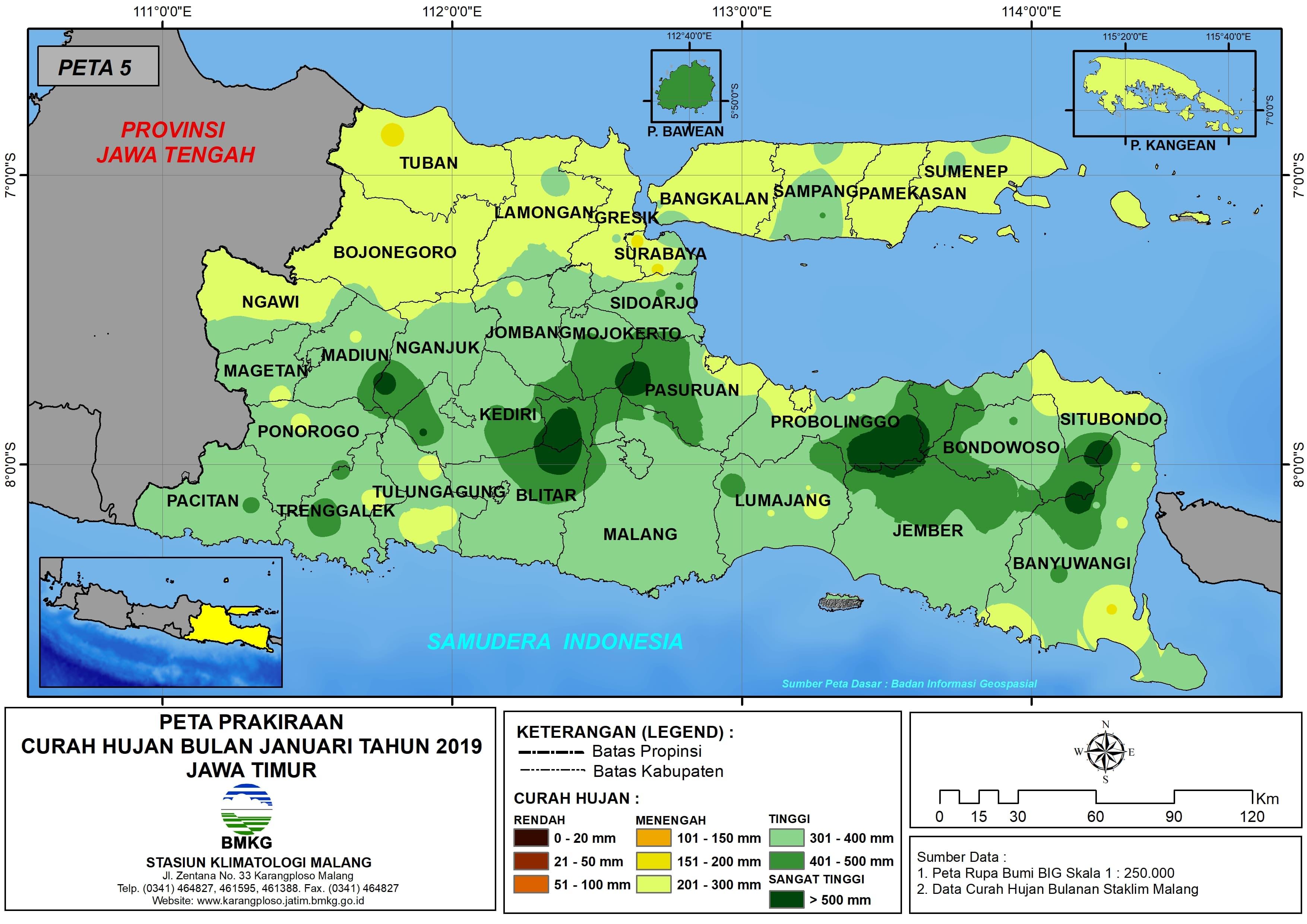 Prakiraan Curah Hujan Bulan Januari Tahun 2018 di Provinsi Jawa Timur Update dari Analisis Bulan November 2018