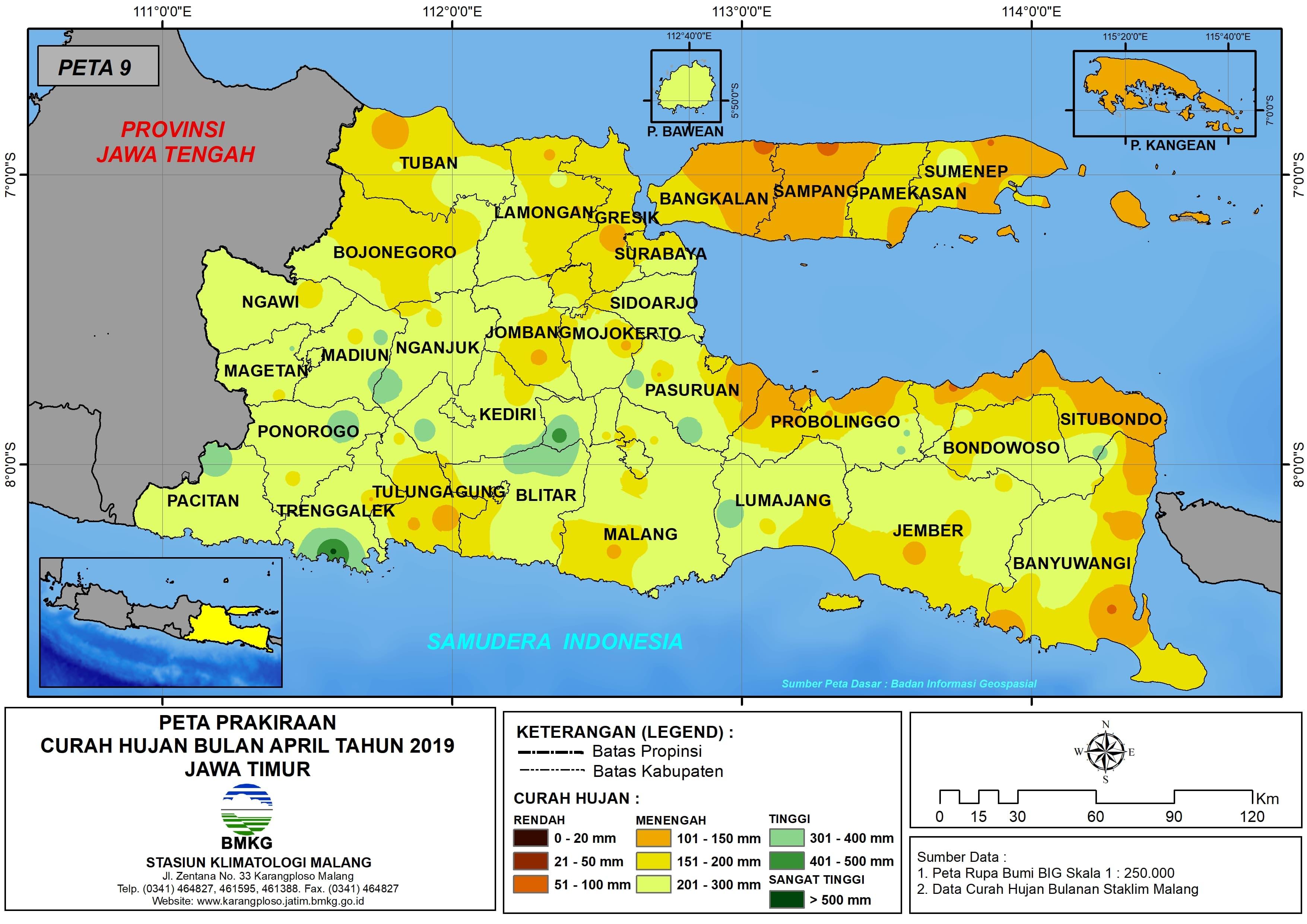 Prakiraan Curah Hujan Bulan April Tahun 2018 di Provinsi Jawa Timur Update dari Analisis Bulan Desember 2018