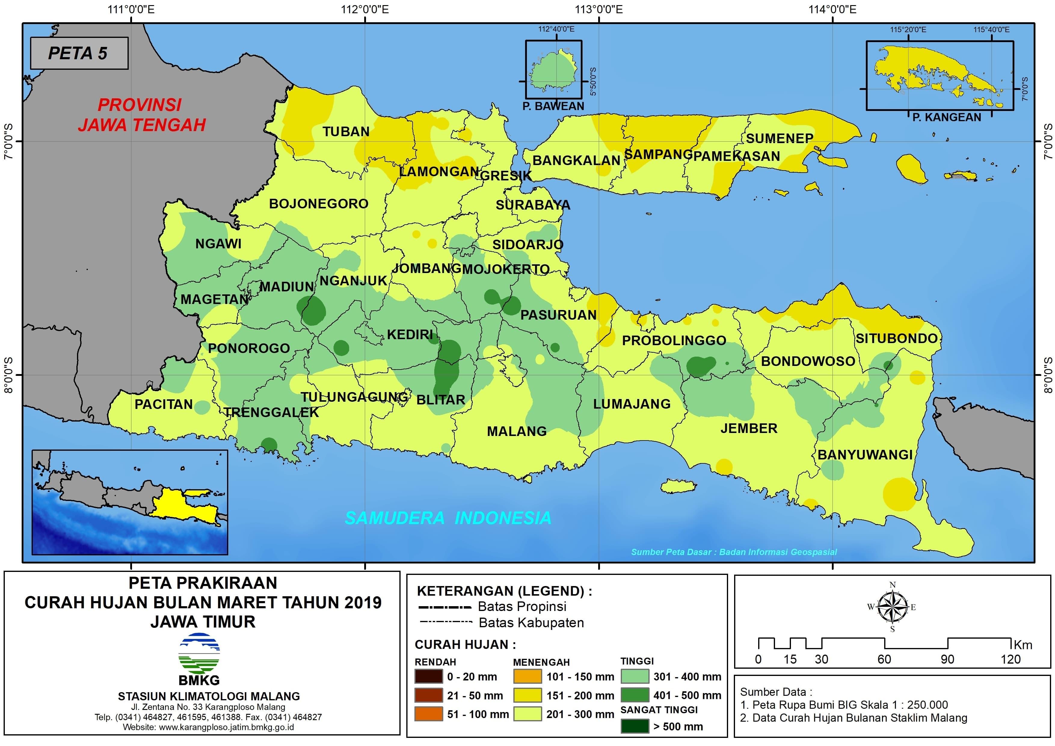 Prakiraan Curah Hujan Bulan Maret Tahun 2019 di Provinsi Jawa Timur Update dari Analisis Bulan Januari 2019