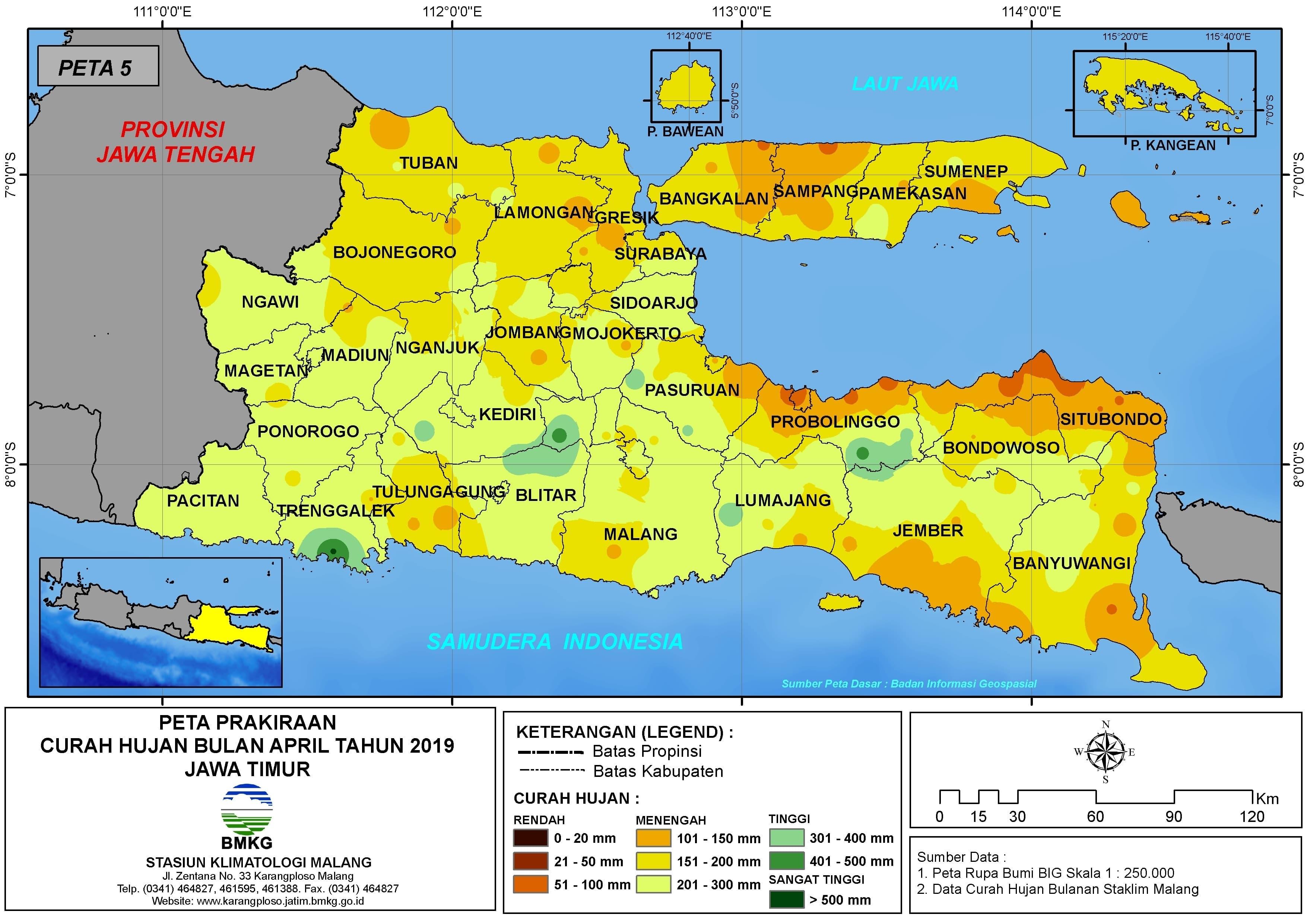 Prakiraan Curah Hujan Bulan April Tahun 2019 di Provinsi Jawa Timur Update dari Analisis Bulan Februari 2019