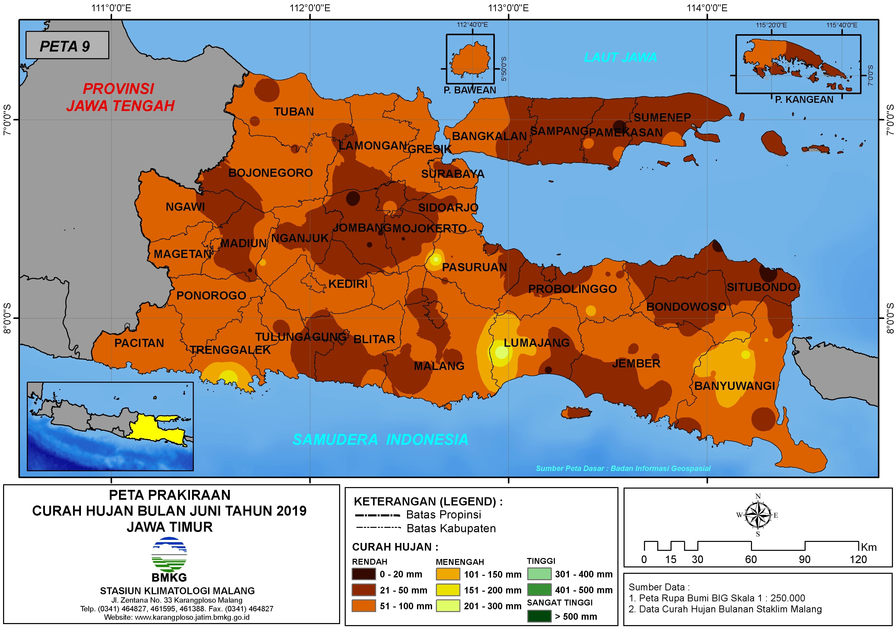 Prakiraan Curah Hujan Bulan Juni Tahun 2019 di Provinsi Jawa Timur Update dari Analisis Bulan Februari 2019