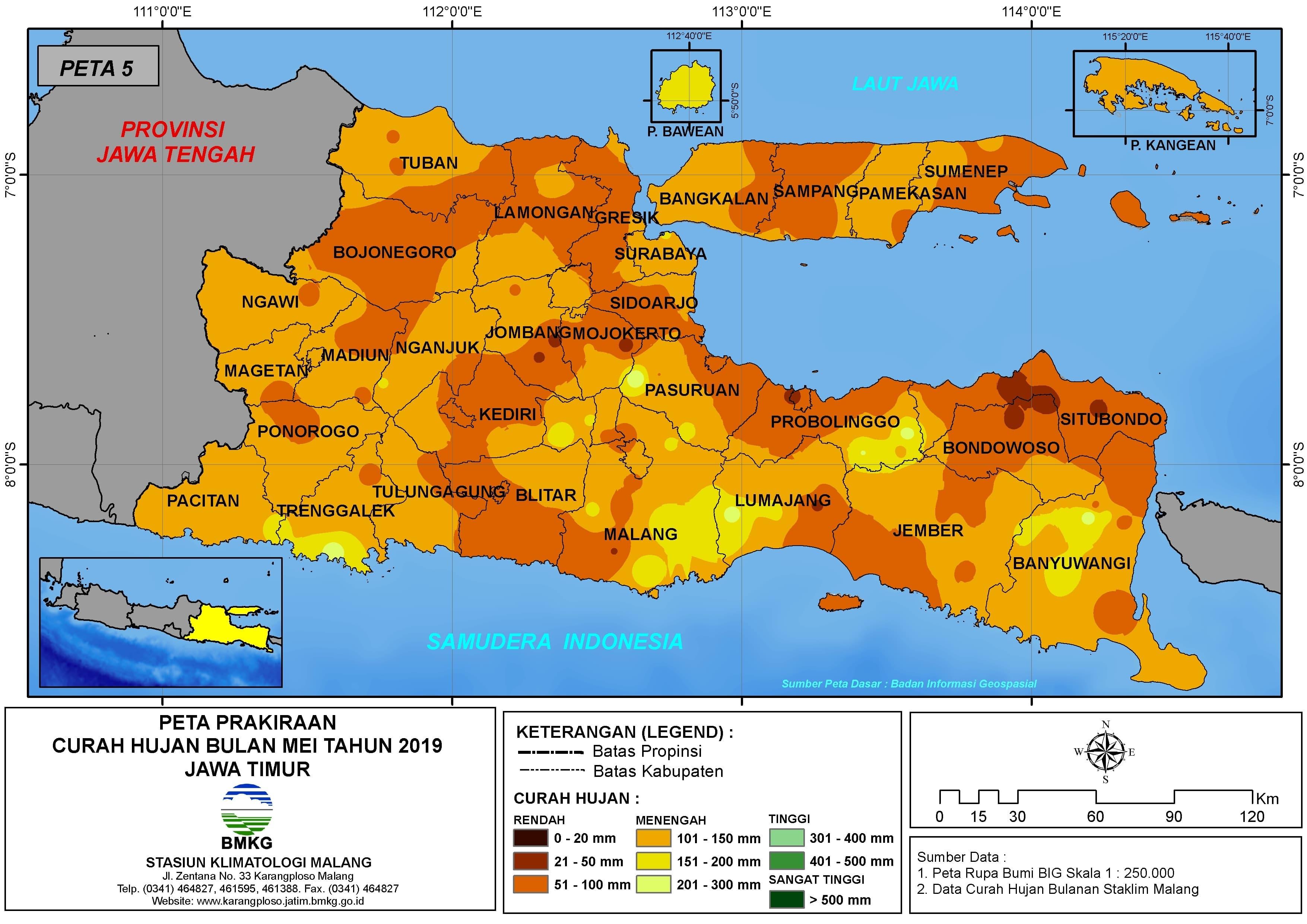 Peta Prakiraan-Bulanan Curah Hujan Bulan MEI Tahun 2019 di Provinsi Jawa Timur Update dari Analisis Bulan Maret 2019