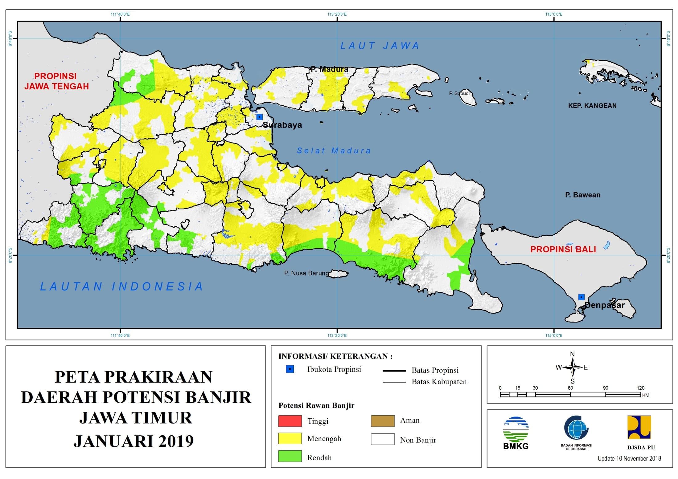 Prakiraan Bulanan Daerah Potensi Banjir di Provinsi Jawa Timur Bulan JANUARI 2019 update 10 Nopember 2018