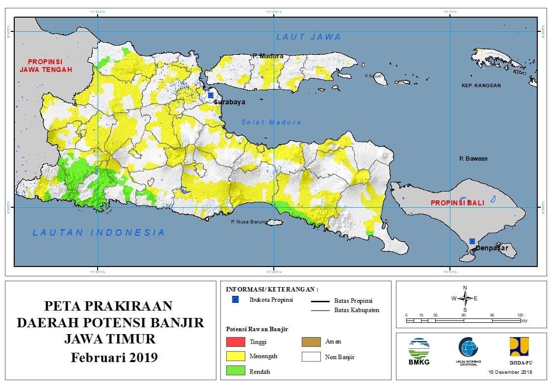 Prakiraan Bulanan Daerah Potensi Banjir di Provinsi Jawa Timur Bulan FEBRUARI 2019 update 10 Desember 2018