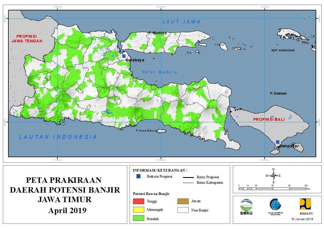 Prakiraan Bulanan Daerah Potensi Banjir di Provinsi Jawa Timur Bulan APRIL 2019 update 10 Januari 2019