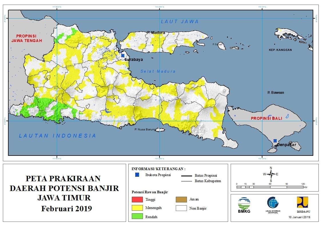 Prakiraan Bulanan Daerah Potensi Banjir di Provinsi Jawa Timur Bulan FEBRUARI 2019 update 10 Januari 2019