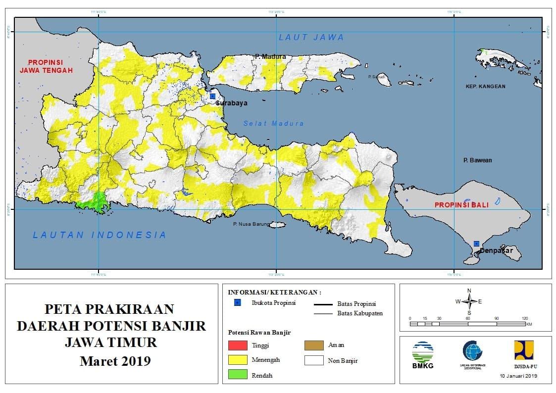 Prakiraan Bulanan Daerah Potensi Banjir di Provinsi Jawa Timur Bulan MARET 2019 update 10 Januari 2019