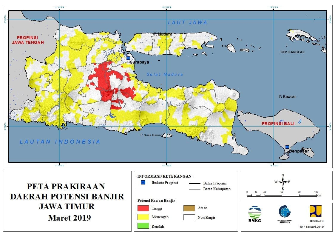 Prakiraan Bulanan Daerah Potensi Banjir di Provinsi Jawa Timur Bulan MARET 2019 update 10 Februari 2019