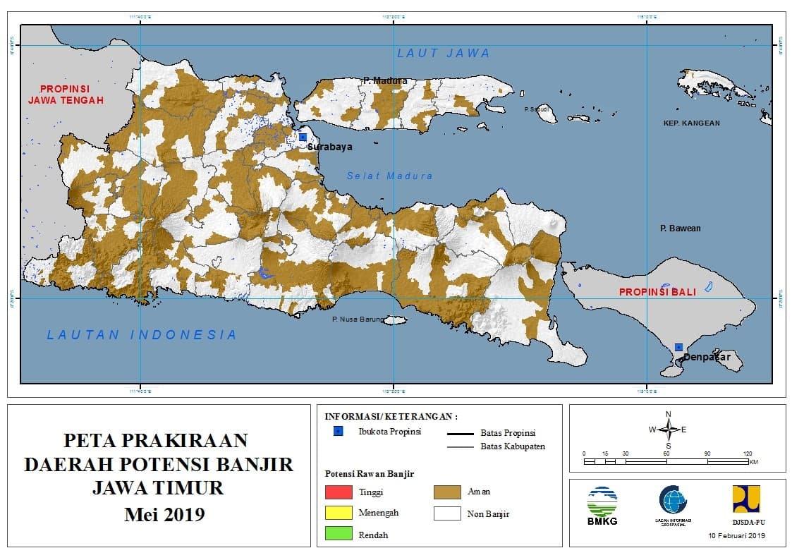Prakiraan Bulanan Daerah Potensi Banjir di Provinsi Jawa Timur Bulan MEI 2019 update 10 Februari 2019