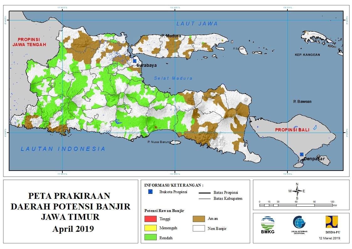 Prakiraan Bulanan Daerah Potensi Banjir di Provinsi Jawa Timur Bulan APRIL 2019 update 10 Maret 2019