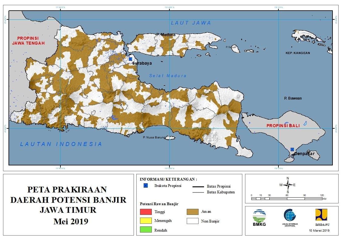 Prakiraan Bulanan Daerah Potensi Banjir di Provinsi Jawa Timur Bulan MEI 2019 update 10 Maret 2019