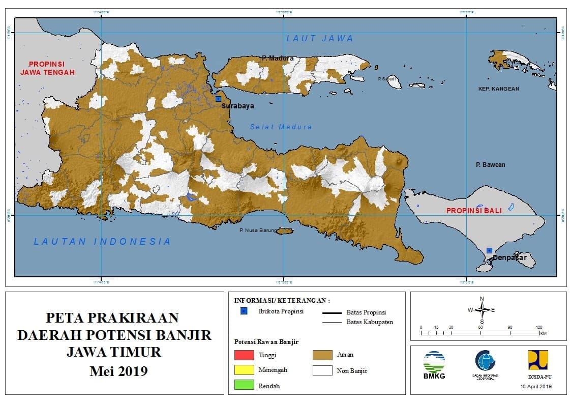 Prakiraan Bulanan Daerah Potensi Banjir di Provinsi Jawa Timur Bulan MEI 2019 update 10 April 2019