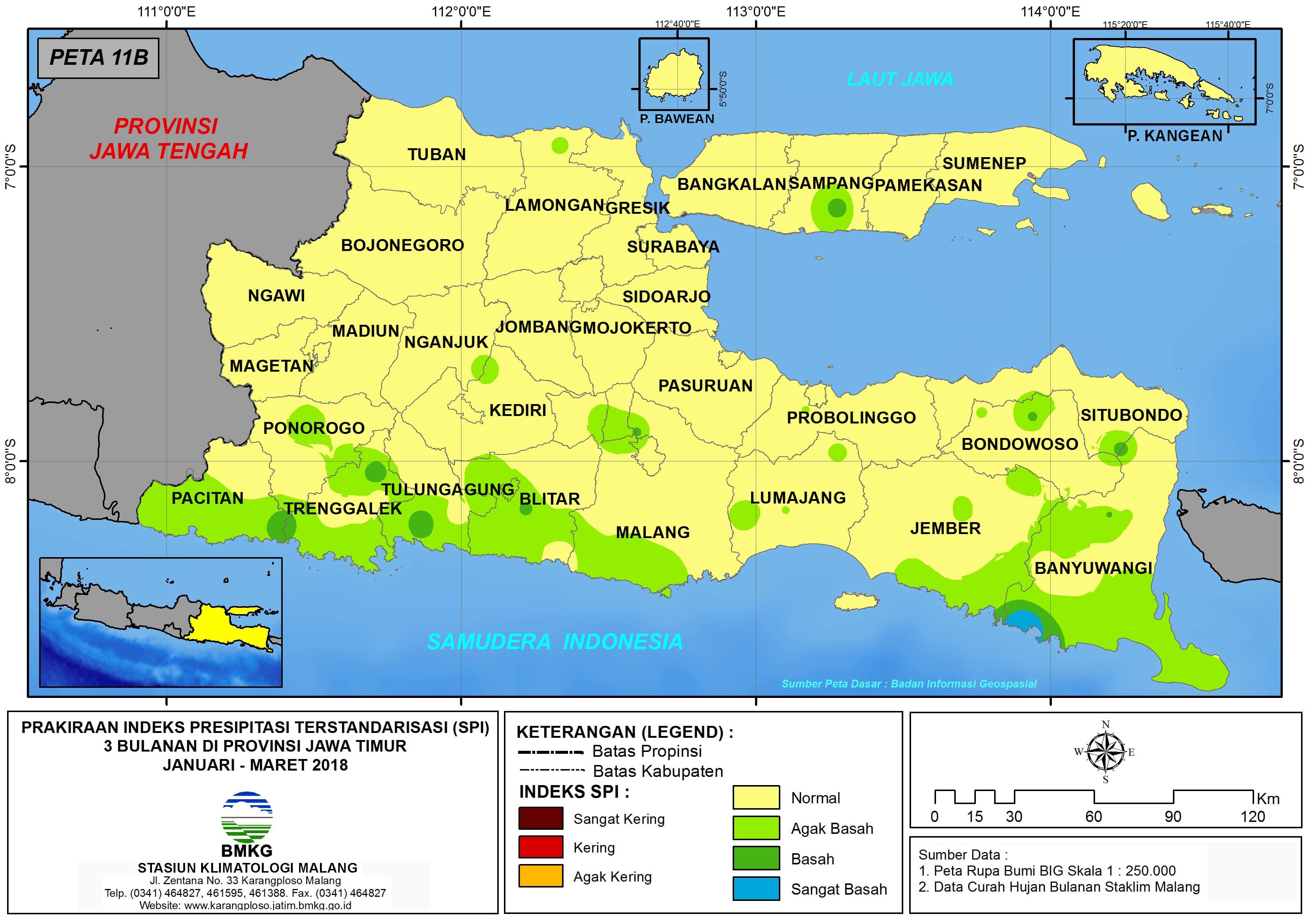 01 Prakiraan Indeks Presipitasi Terstandarisasi SPI 3 Bulanan di Provinsi Jawa Timur Untuk Bulan Januari Februari Maret Tahun 2018 Update dari Analisis Bulan Januari 2018
