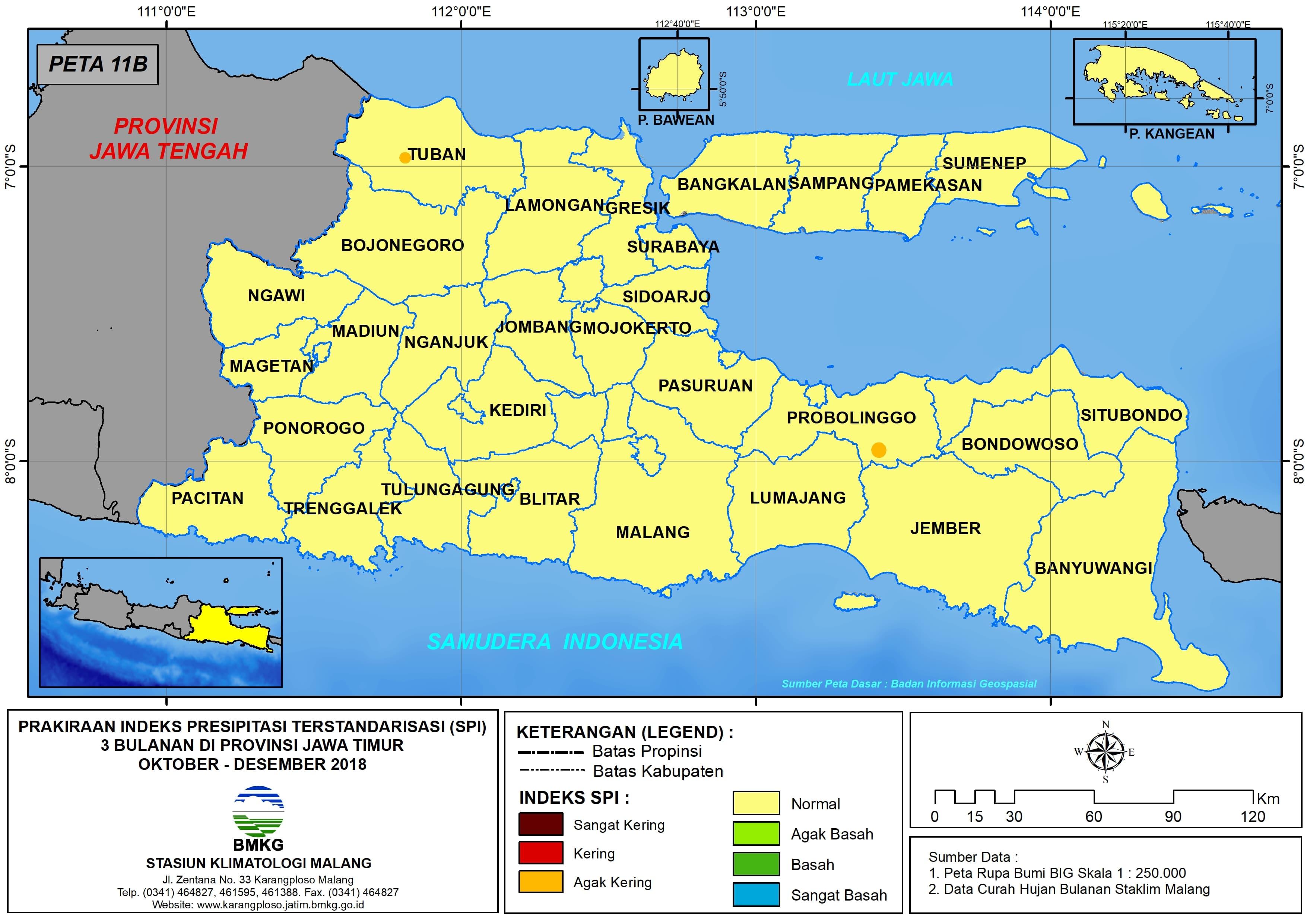 10 Prakiraan Indeks Presipitasi Terstandarisasi SPI 3 Bulanan di Provinsi Jawa Timur Bulan Oktober November Desember Tahun 2018 Update dari Analisis Bulan Oktober 2018