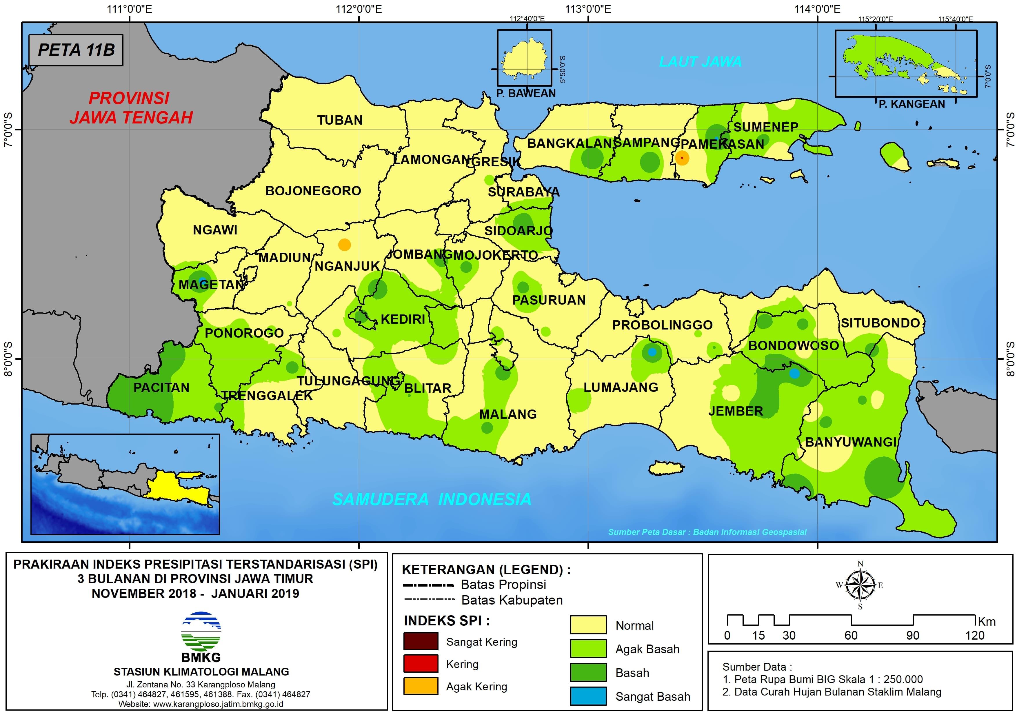 11 Prakiraan Indeks Presipitasi Terstandarisasi SPI 3 Bulanan di Provinsi Jawa Timur Bulan November Desember Tahun 2018 Bulan Januari Tahun 2019 Update dari Analisis Bulan November 2018
