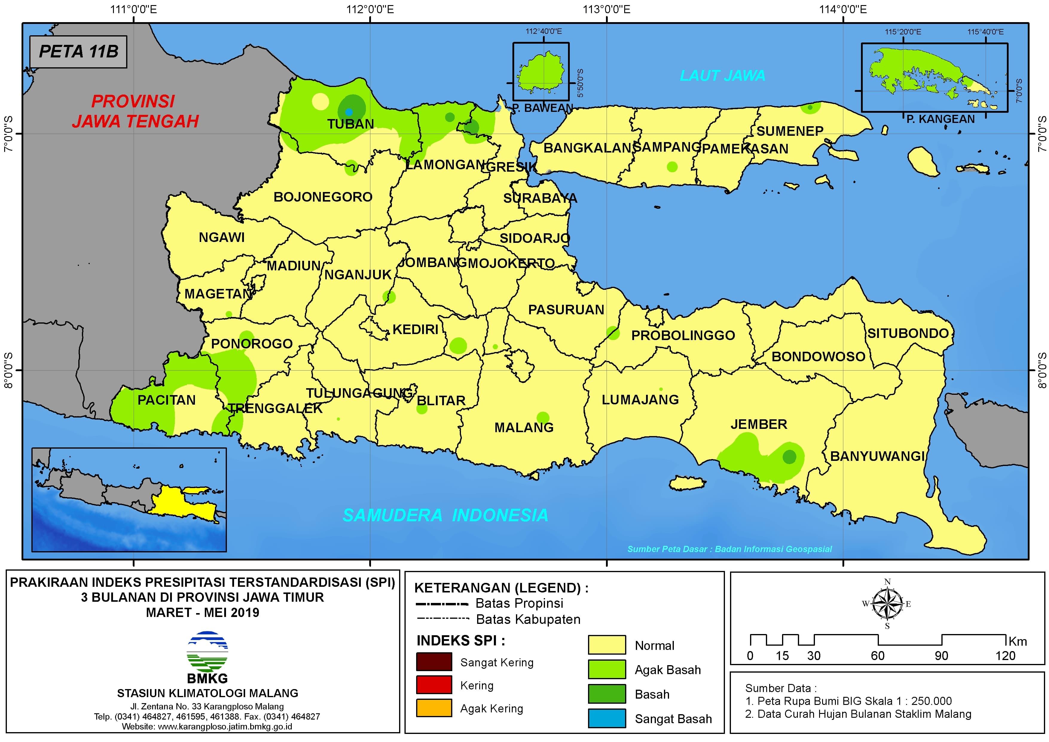 Prakiraan Bulanan Indeks Presipitasi Terstandarisasi (SPI) 3 Bulanan di Provinsi Jawa Timur Bulan MARET APRIL MEI Tahun 2019 Update dari Analisis Maret 2019