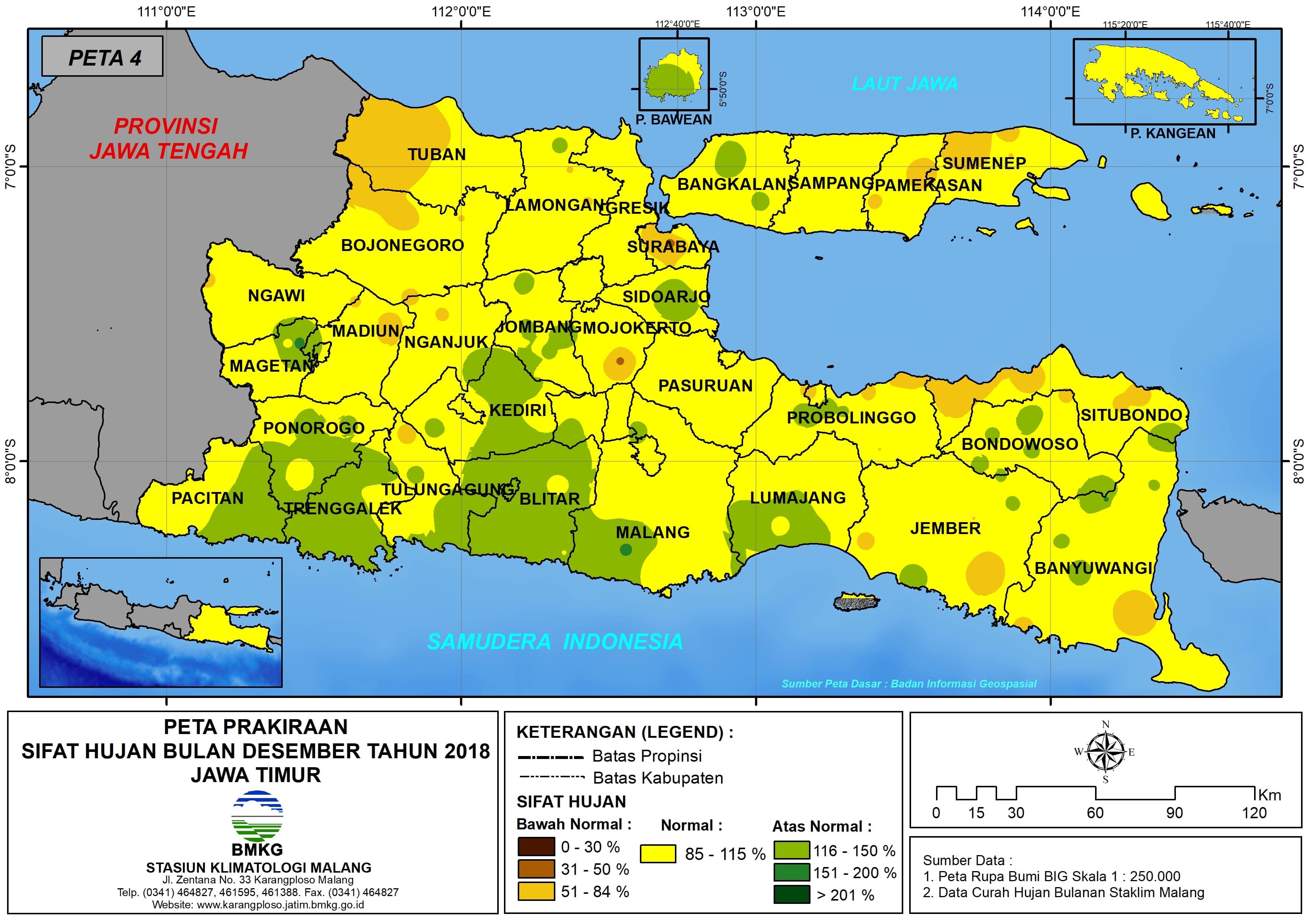 Prakiraan Sifat Hujan Bulan Desember Tahun 2018 di Provinsi Jawa Timur Update dari Analisis Bulan Oktober 2018