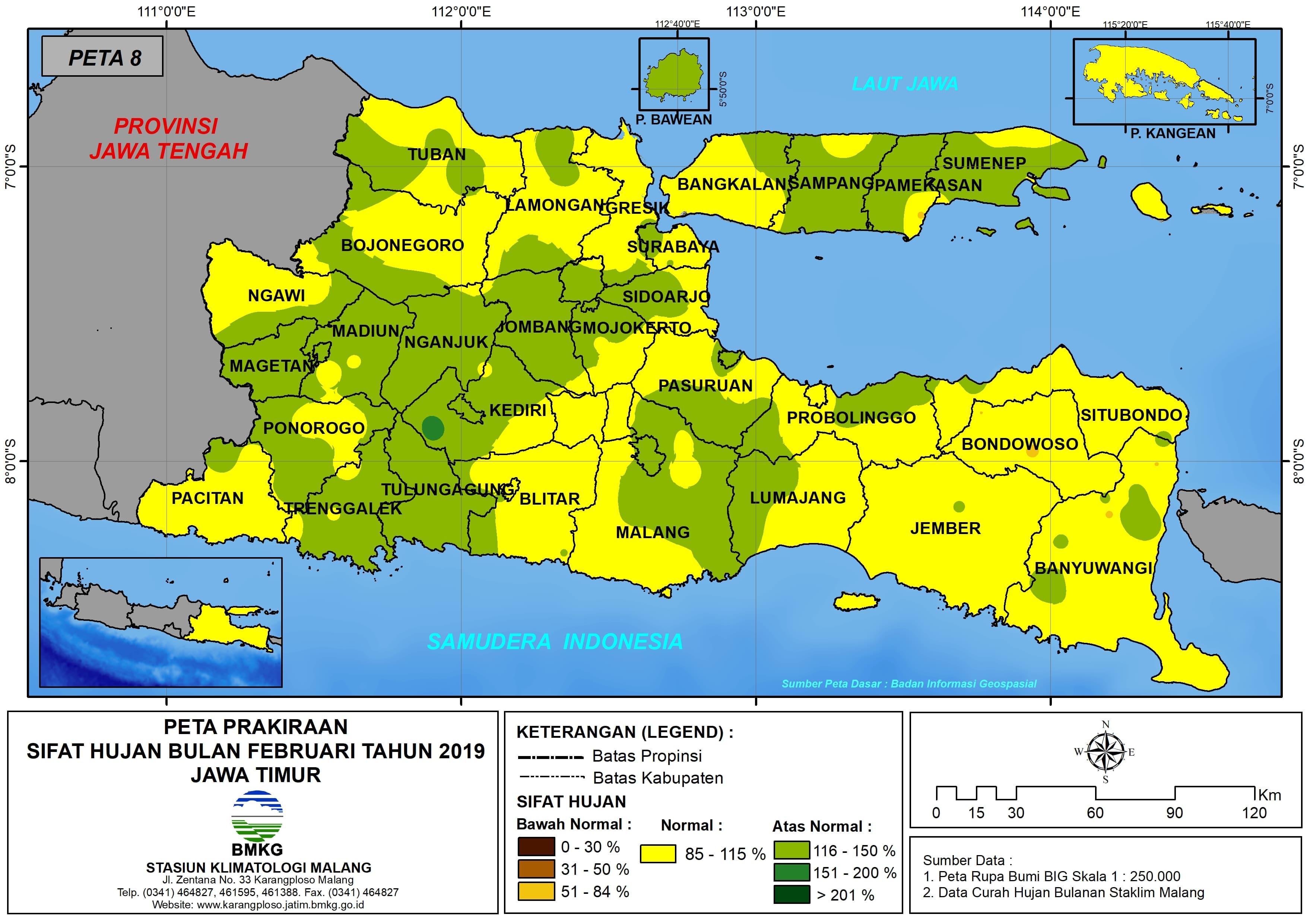 Prakiraan Sifat Hujan Bulan Februari Tahun 2018 di Provinsi Jawa Timur Update dari Analisis Bulan Oktober 2018
