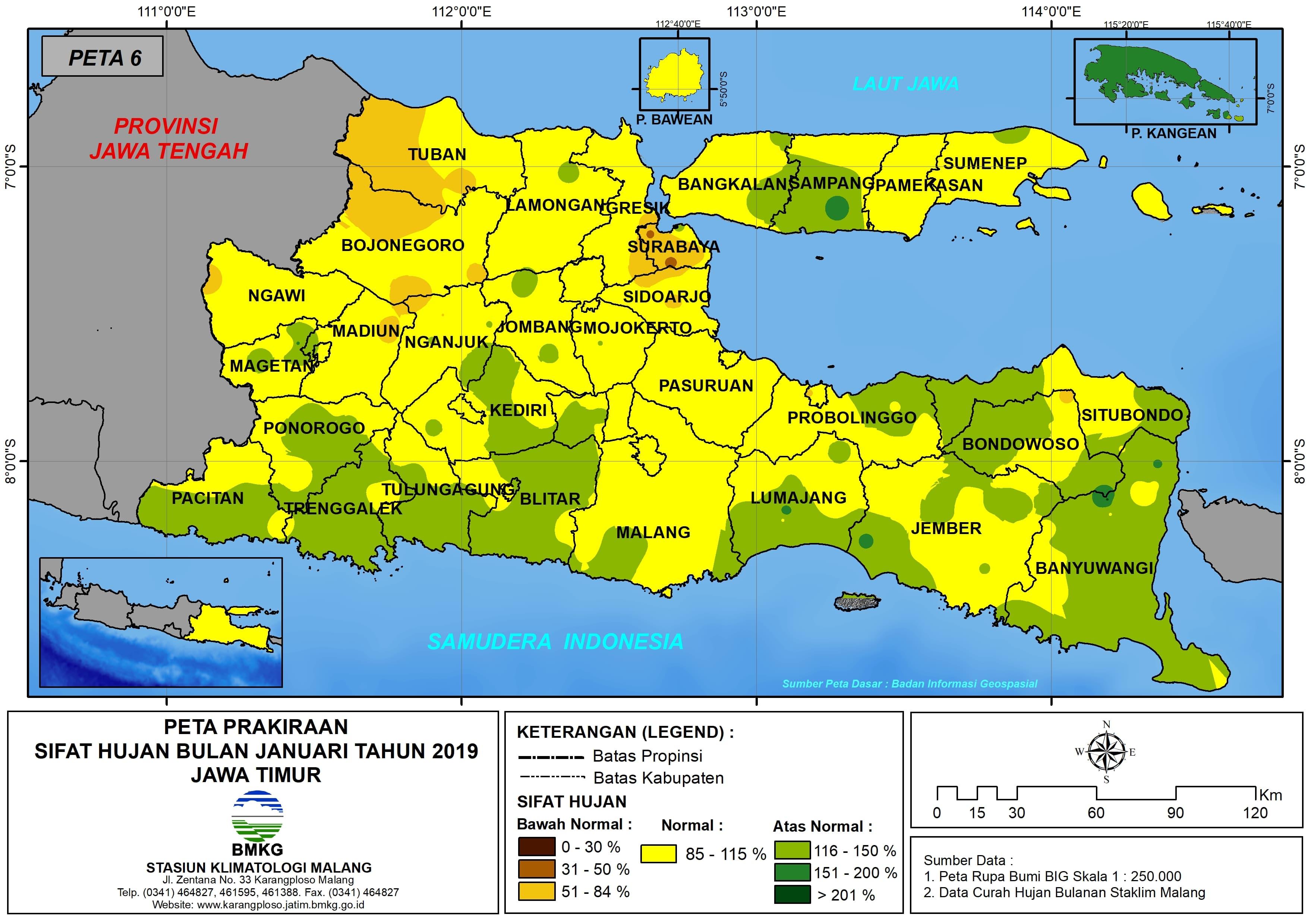 Prakiraan Sifat Hujan Bulan Januari Tahun 2018 di Provinsi Jawa Timur Update dari Analisis Bulan Oktober 2018