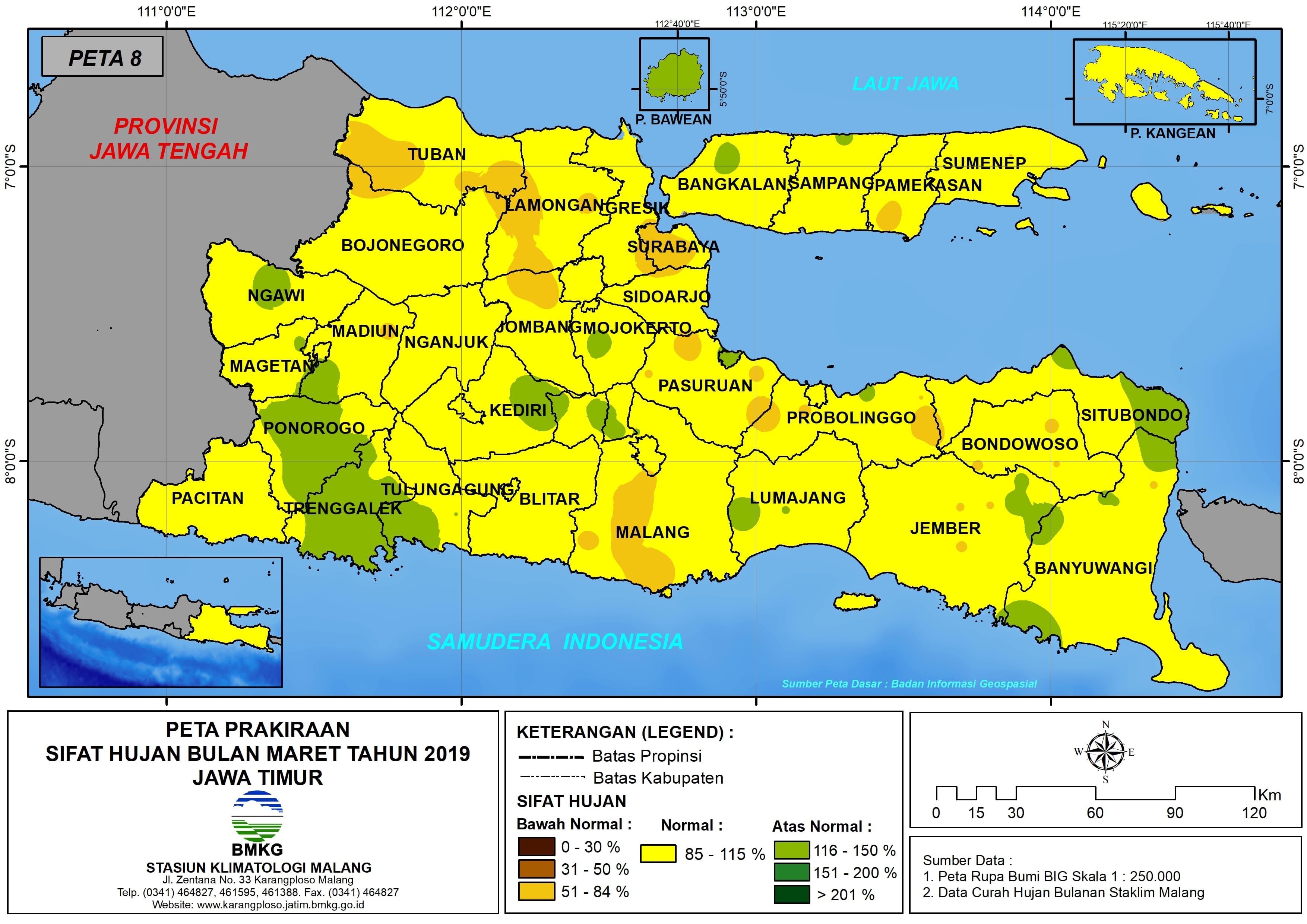 Prakiraan Sifat Hujan Bulan Maret Tahun 2018 di Provinsi Jawa Timur Update dari Analisis Bulan November 2018