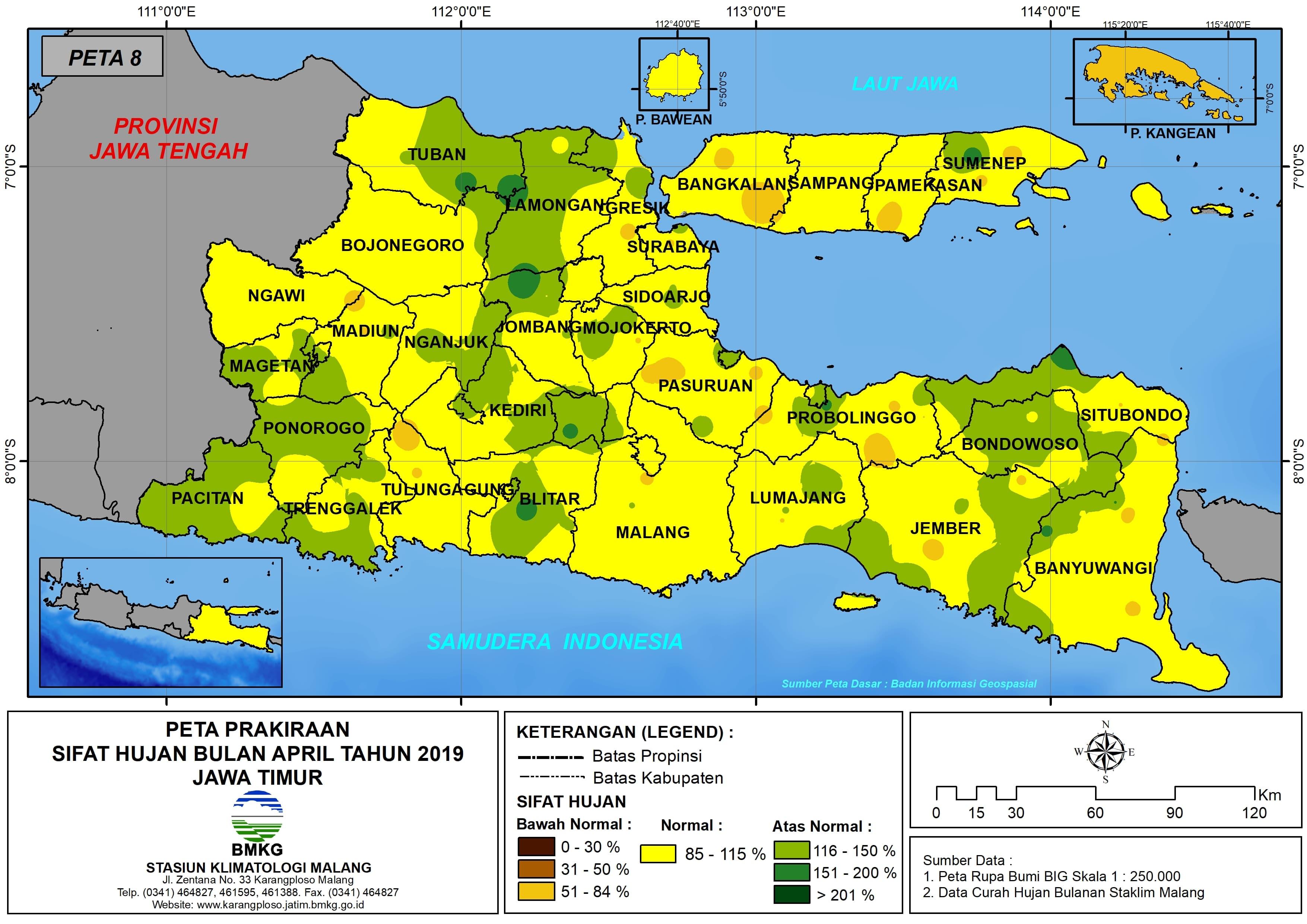 Prakiraan Sifat Hujan Bulan April Tahun 2018 di Provinsi Jawa Timur Update dari Analisis Bulan Desember 2018