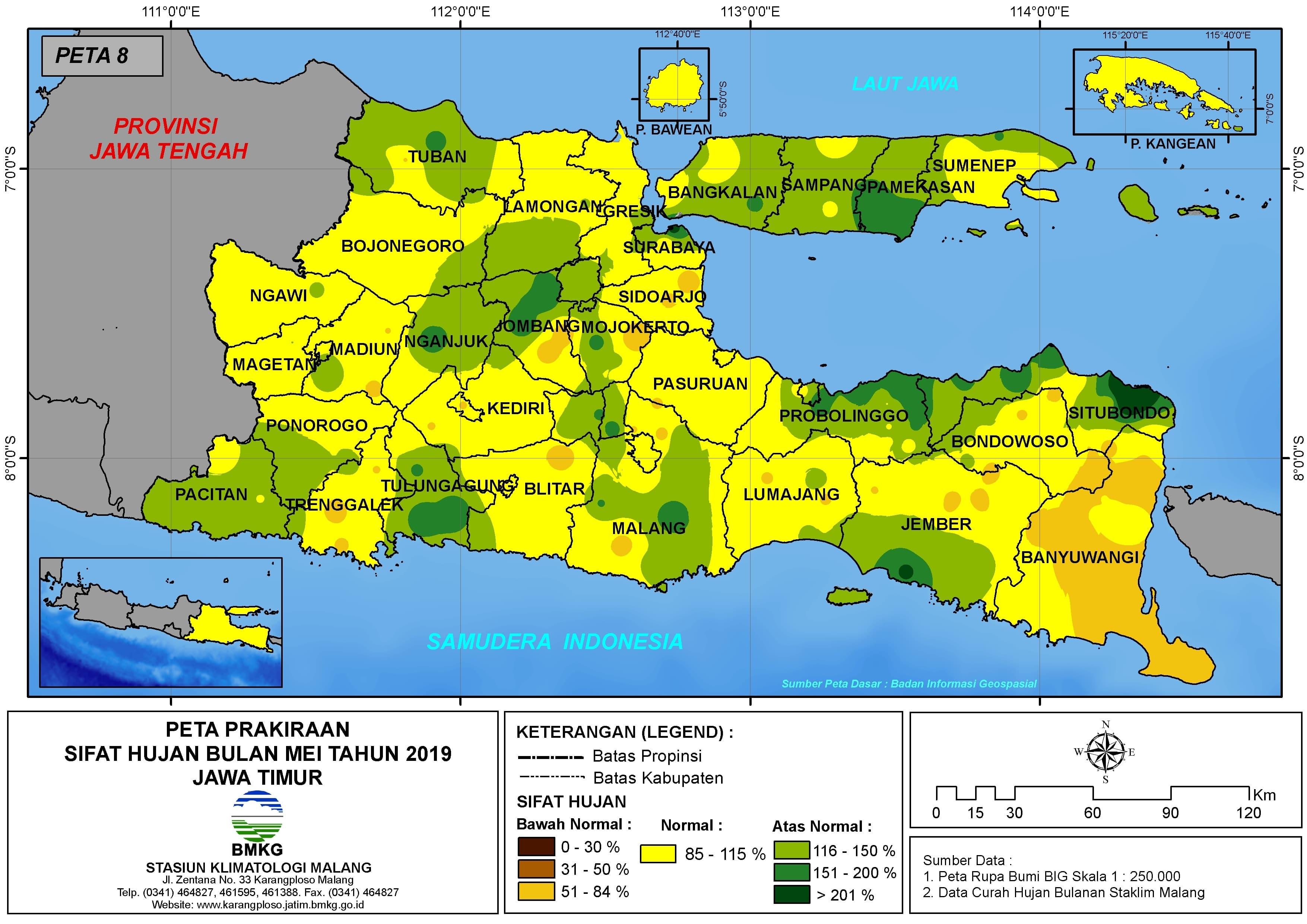 Prakiraan Sifat Hujan Bulan Mei Tahun 2019 di Provinsi Jawa Timur Update dari Analisis Bulan Januari 2019