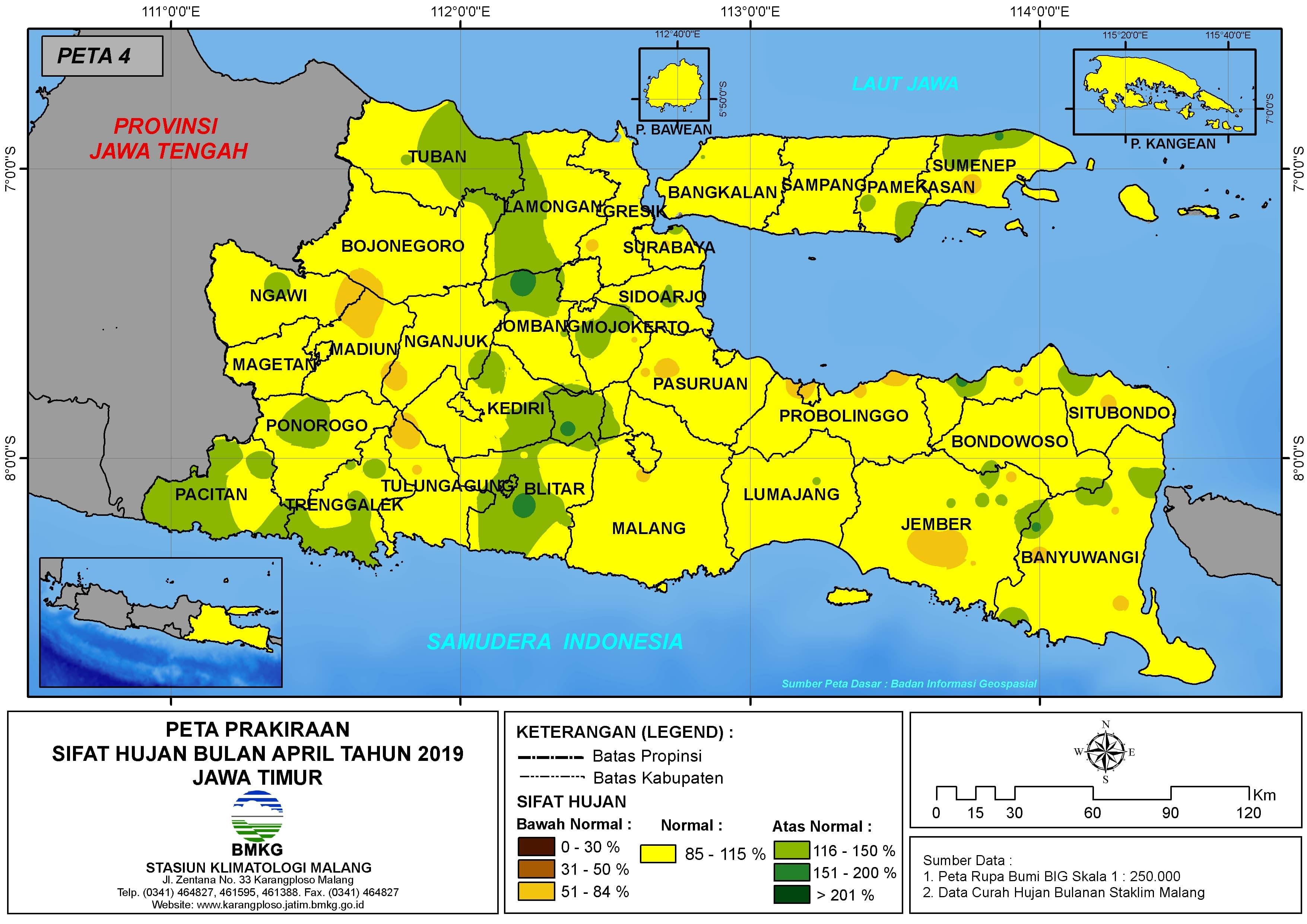 Prakiraan Sifat Hujan Bulan April Tahun 2019 di Provinsi Jawa Timur Update dari Analisis Bulan Februari 2019