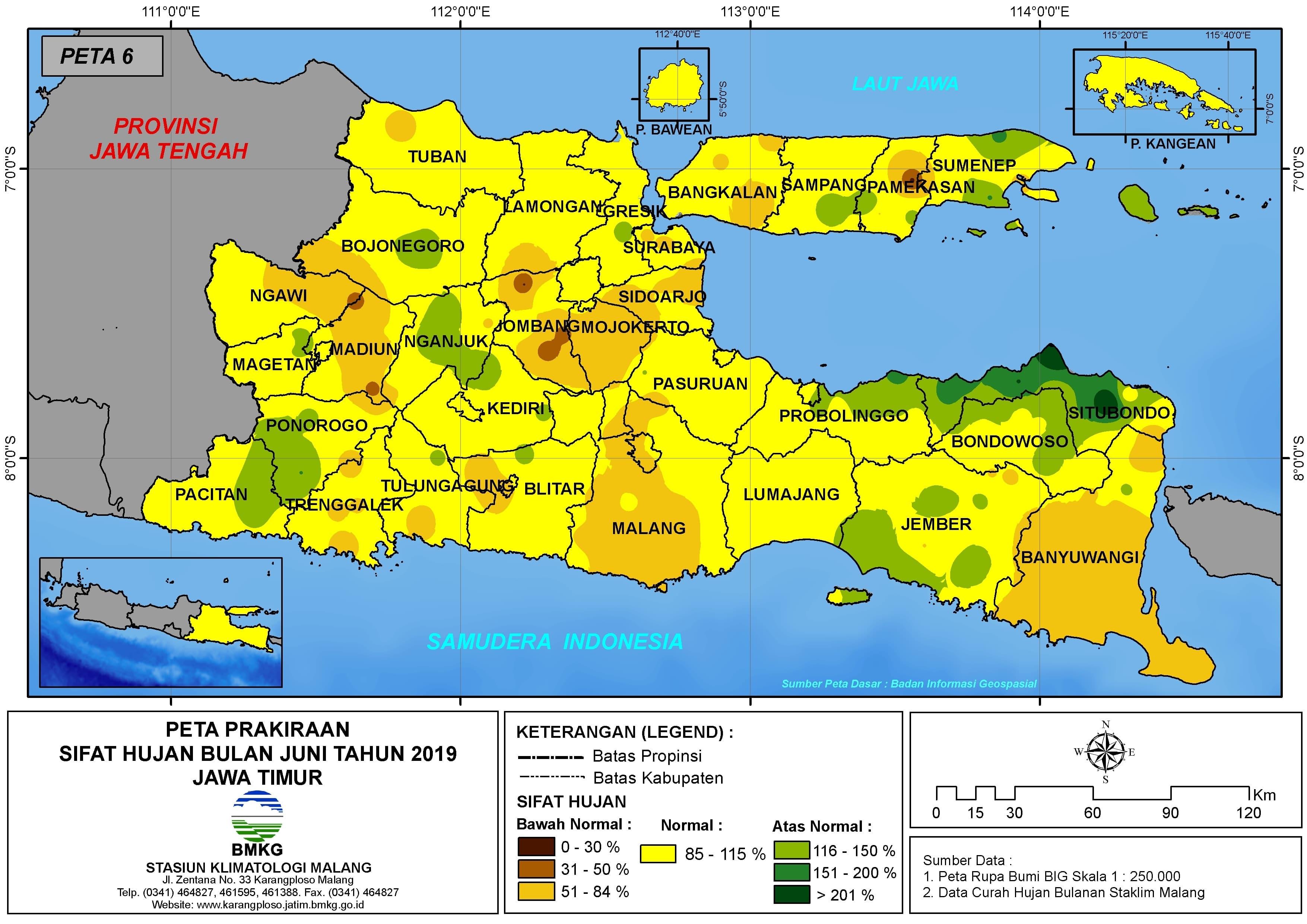 Peta Prakiraan-Bulanan Sifat Hujan Bulan JUNI Tahun 2019 di Provinsi Jawa Timur Update dari Analisis Bulan Maret 2019