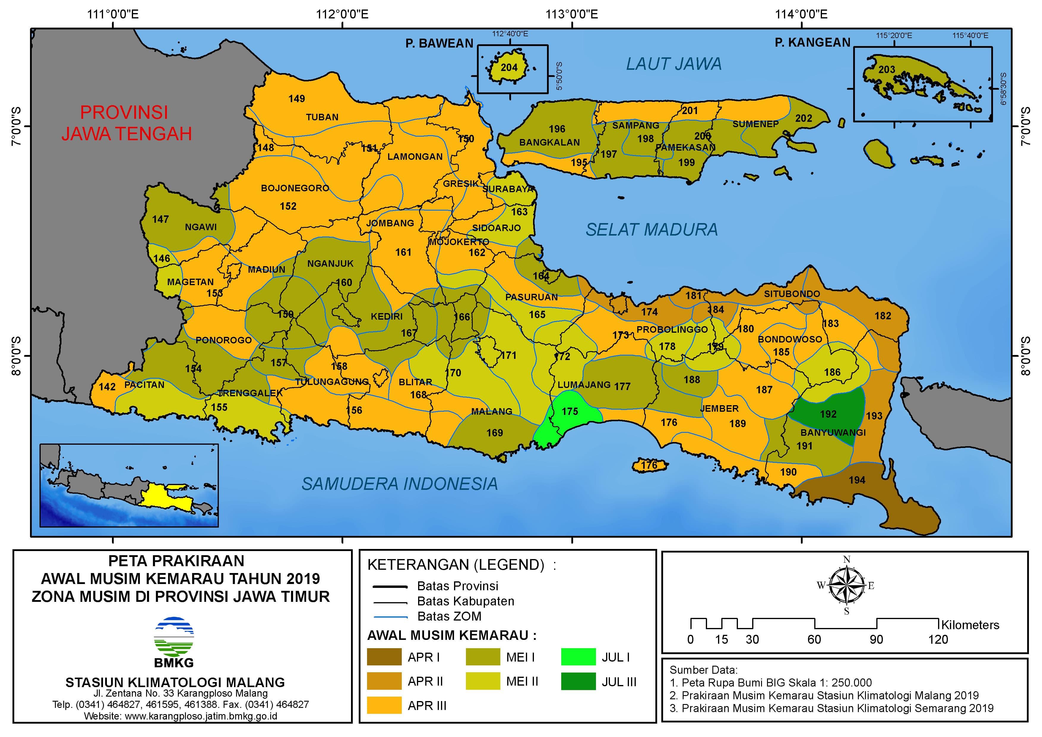 Peta Prakiraan Awal Musim Kemarau Tahun 2019 Zona Musim di Provinsi Jawa Timur