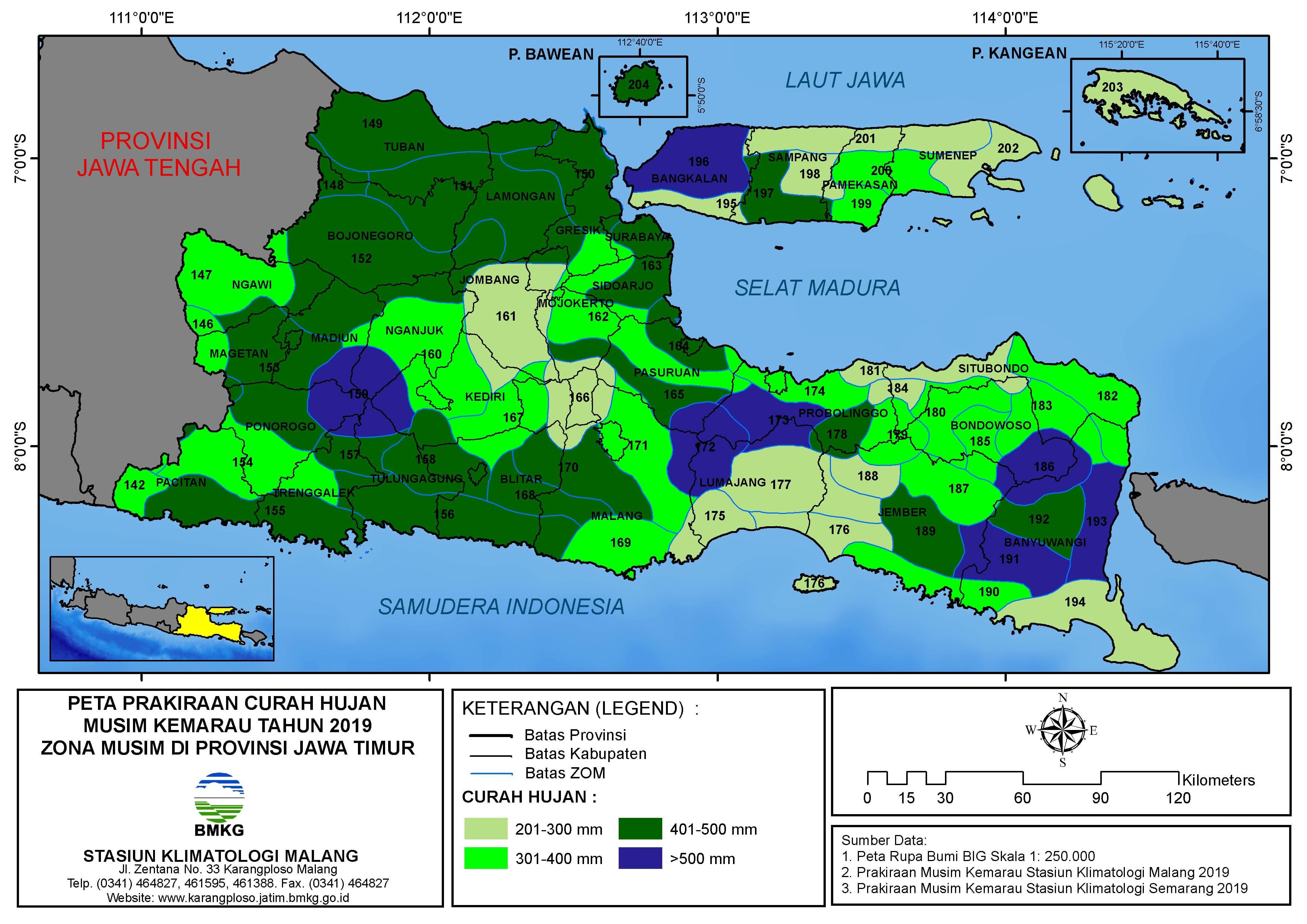 Peta Prakiraan Curah Hujan Musim Kemarau Tahun 2019 Zona Musim di Provinsi Jawa Timur