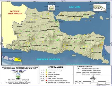 Monitoring Hari Tanpa Hujan Berturut - Turut Jawa Timur Update 10 Maret 2017