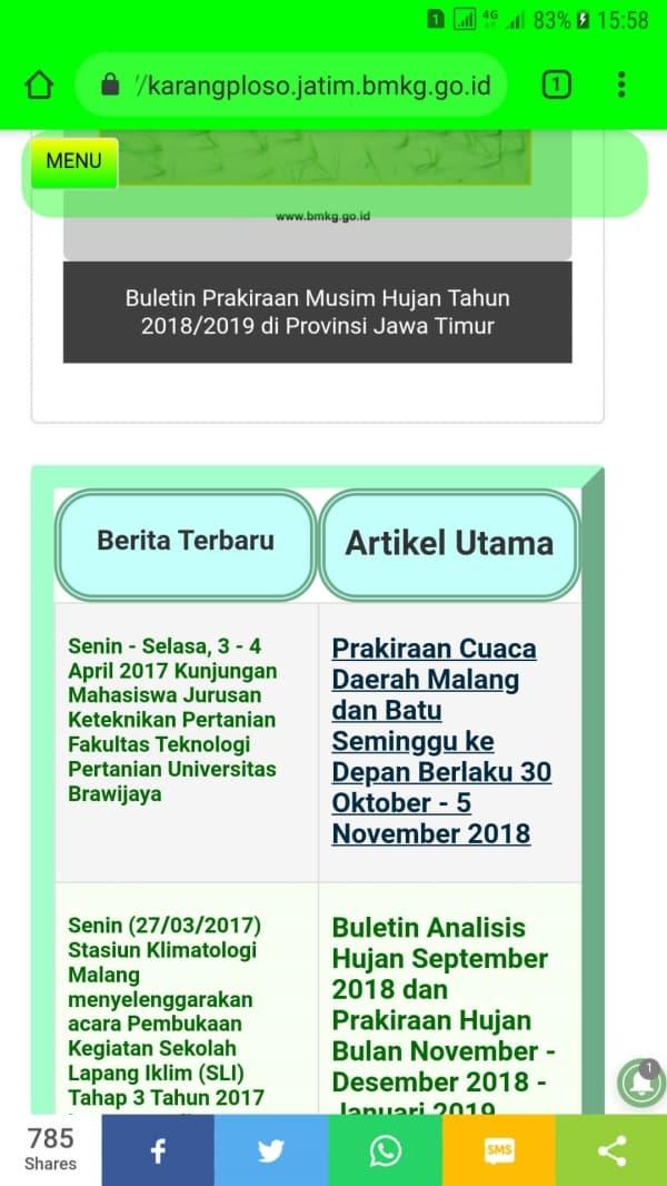 Selanjutnya Klik Link manapun yang ada di halaman awal tersebut, misalnya Link ke halaman : Prakiraan Cuaca Daerah Malang dan Batu Seminggu ke Depan Berlaku 30 Oktober - 5 November 2018