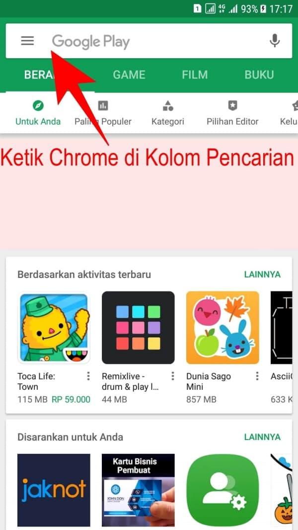Ketik Chrome pada kolom Pencarian