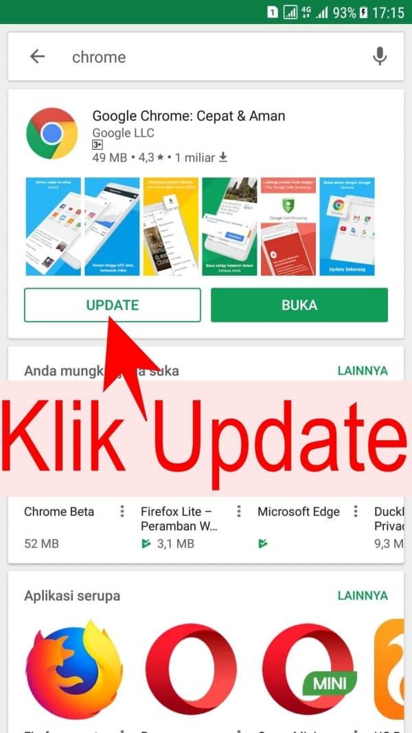 Klik Update jika ada tombol update, jika tidak ada kata kata Update, maka anda telah memiliki versi Google Chrome terbaru