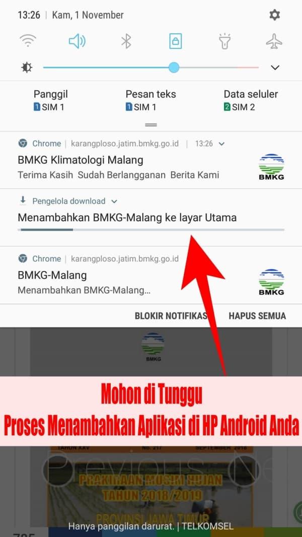 Mohon di Tunggu ada proses instalasi menambahkan halaman web https://karangploso.jatim.bmkg.go.id di notifikasi HP Android Anda